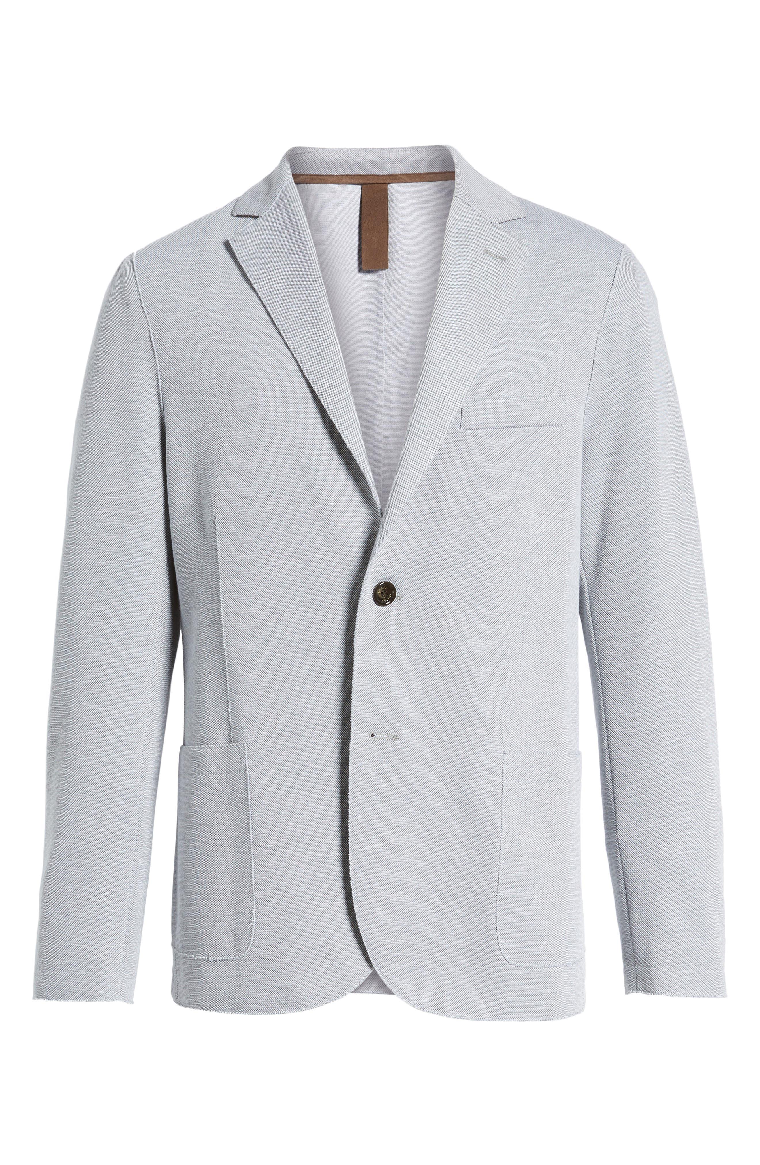 Trim Fit Jersey Blazer,                             Alternate thumbnail 5, color,                             GREY