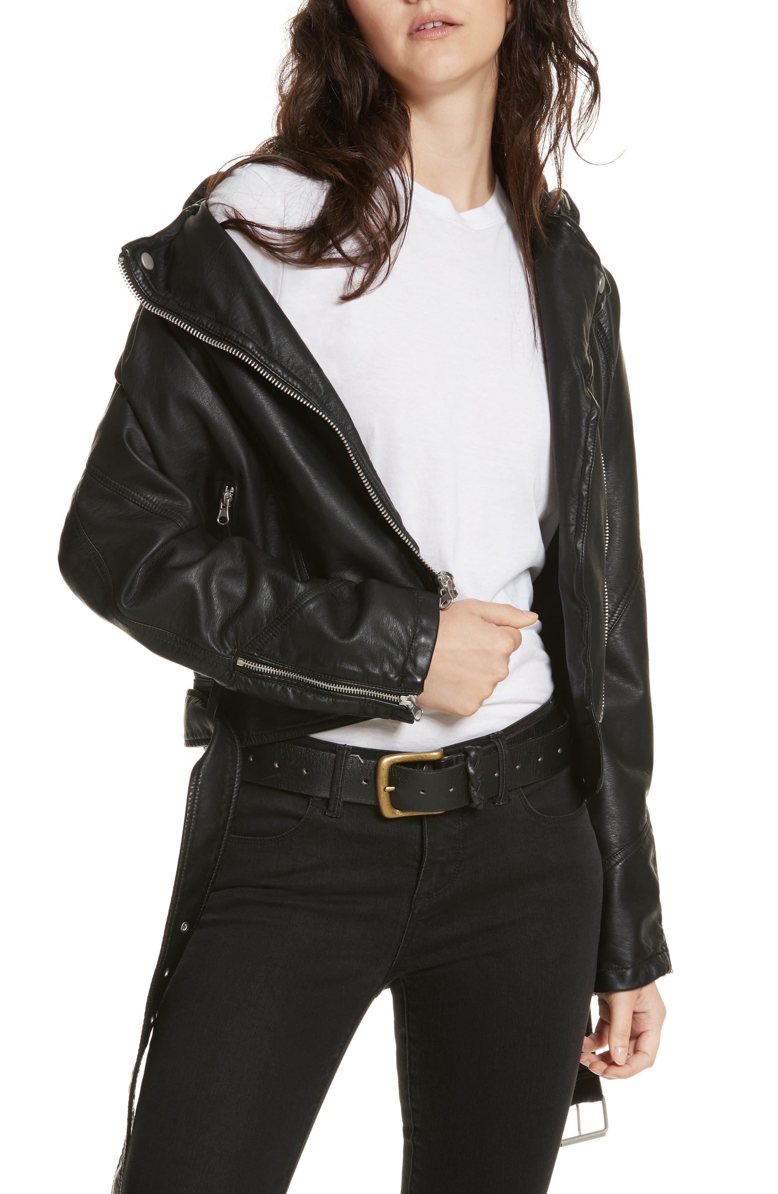 Drapey Faux Leather Moto Jacket,                             Main thumbnail 1, color,