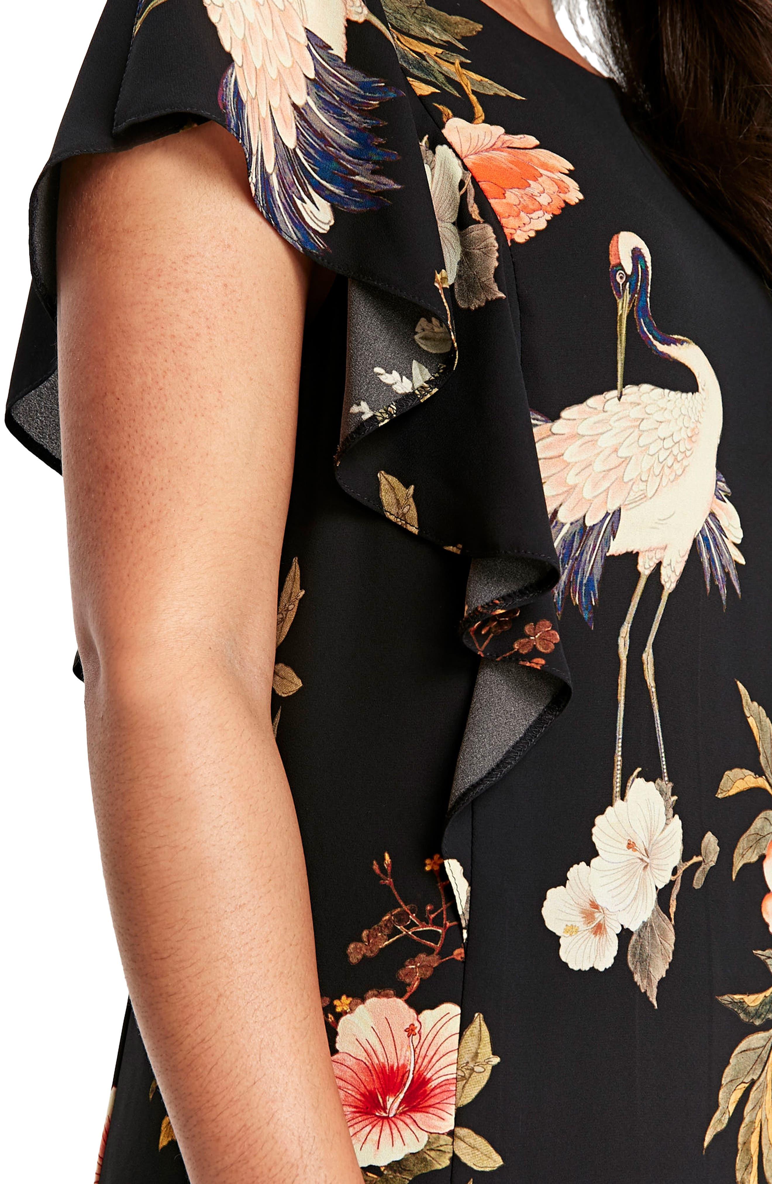 Floral Bird Print Frill Dress,                             Alternate thumbnail 3, color,                             001