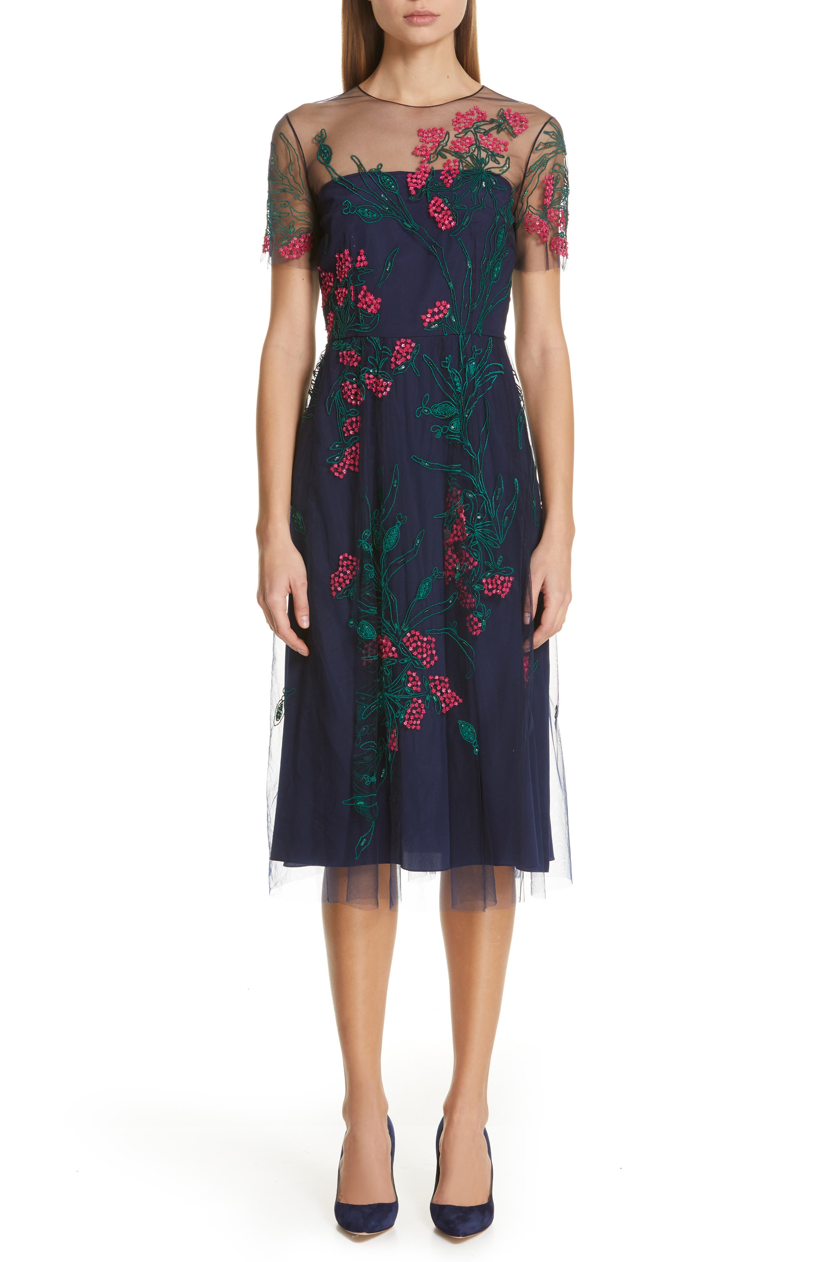 Carolina Herrera Floral Cocktail Dress, Blue