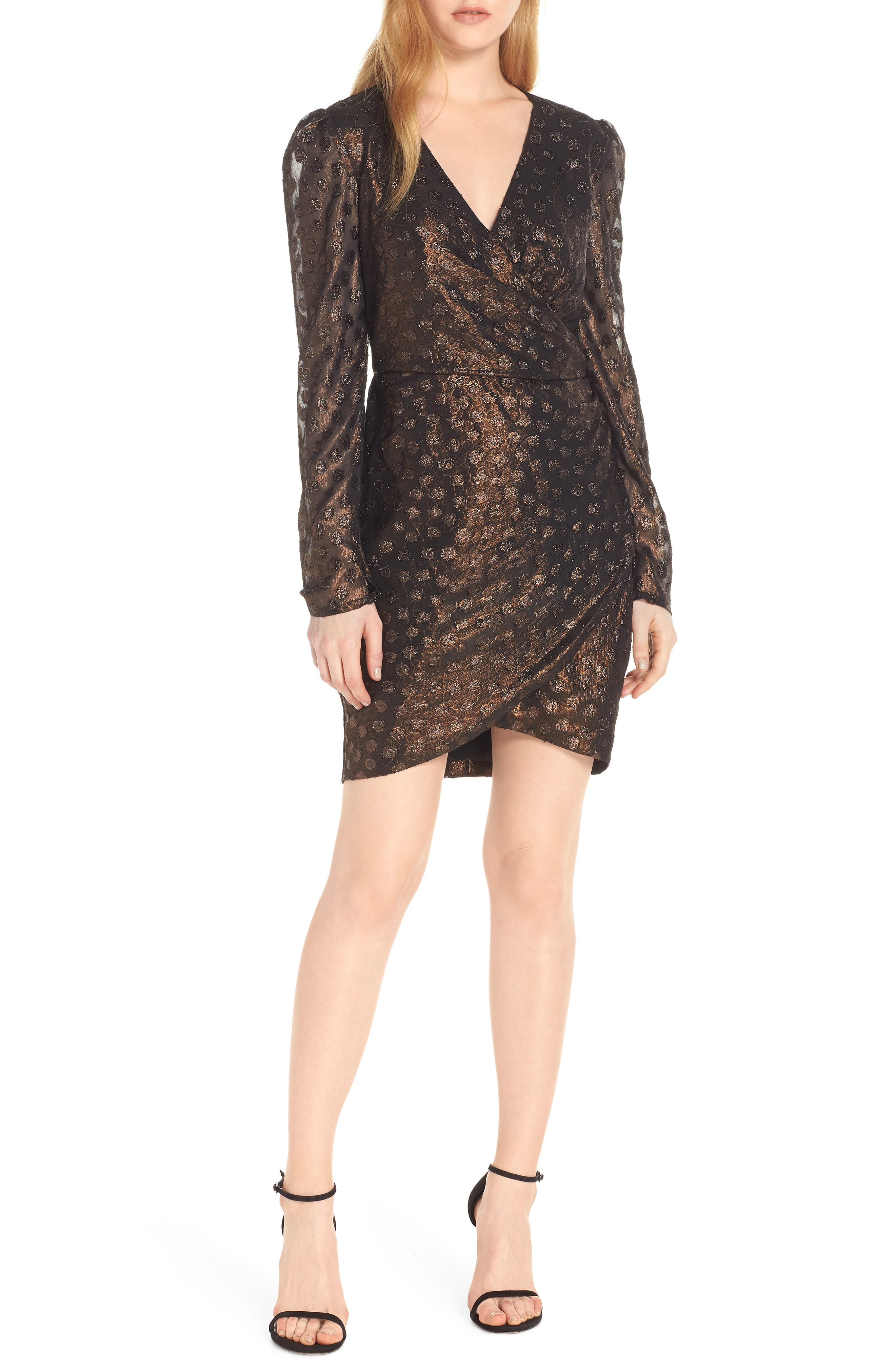 Metallic Fil Coupé Faux Wrap Dress,                         Main,                         color, COPPER