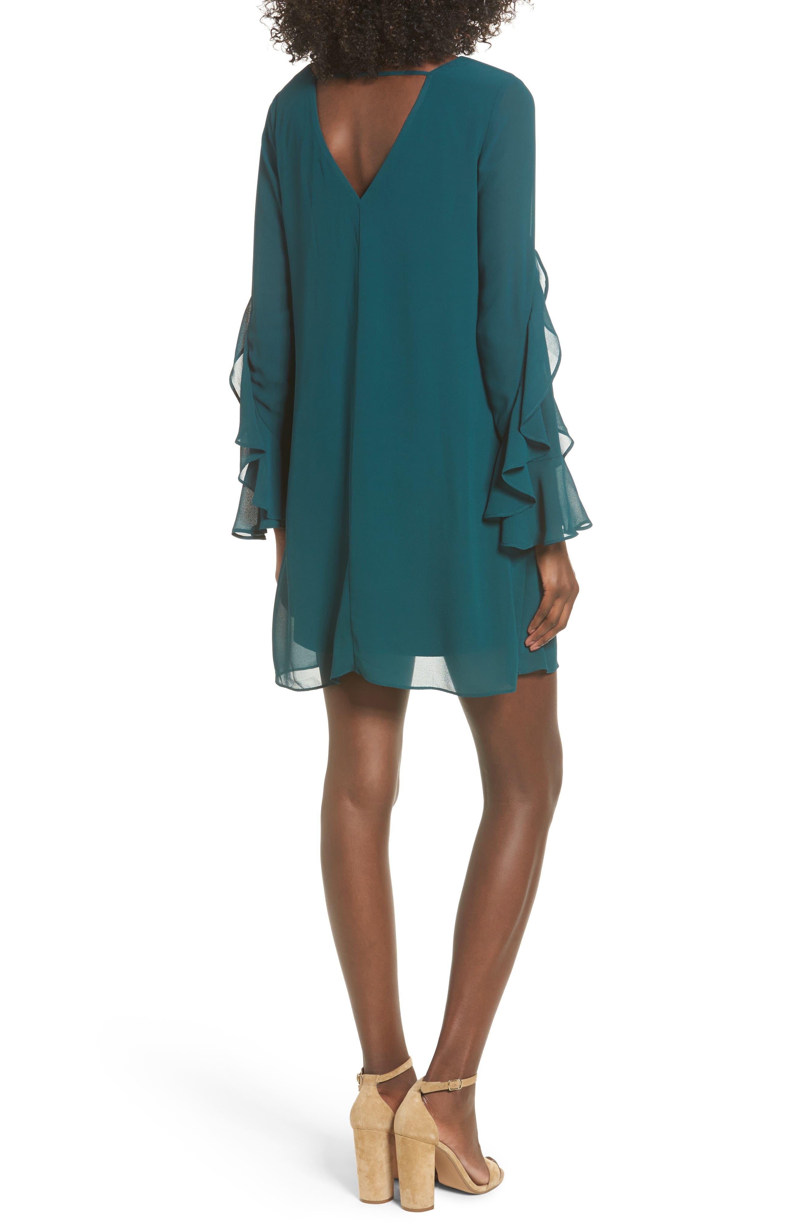 Ruffle Sleeve Shift Dress,                             Alternate thumbnail 5, color,