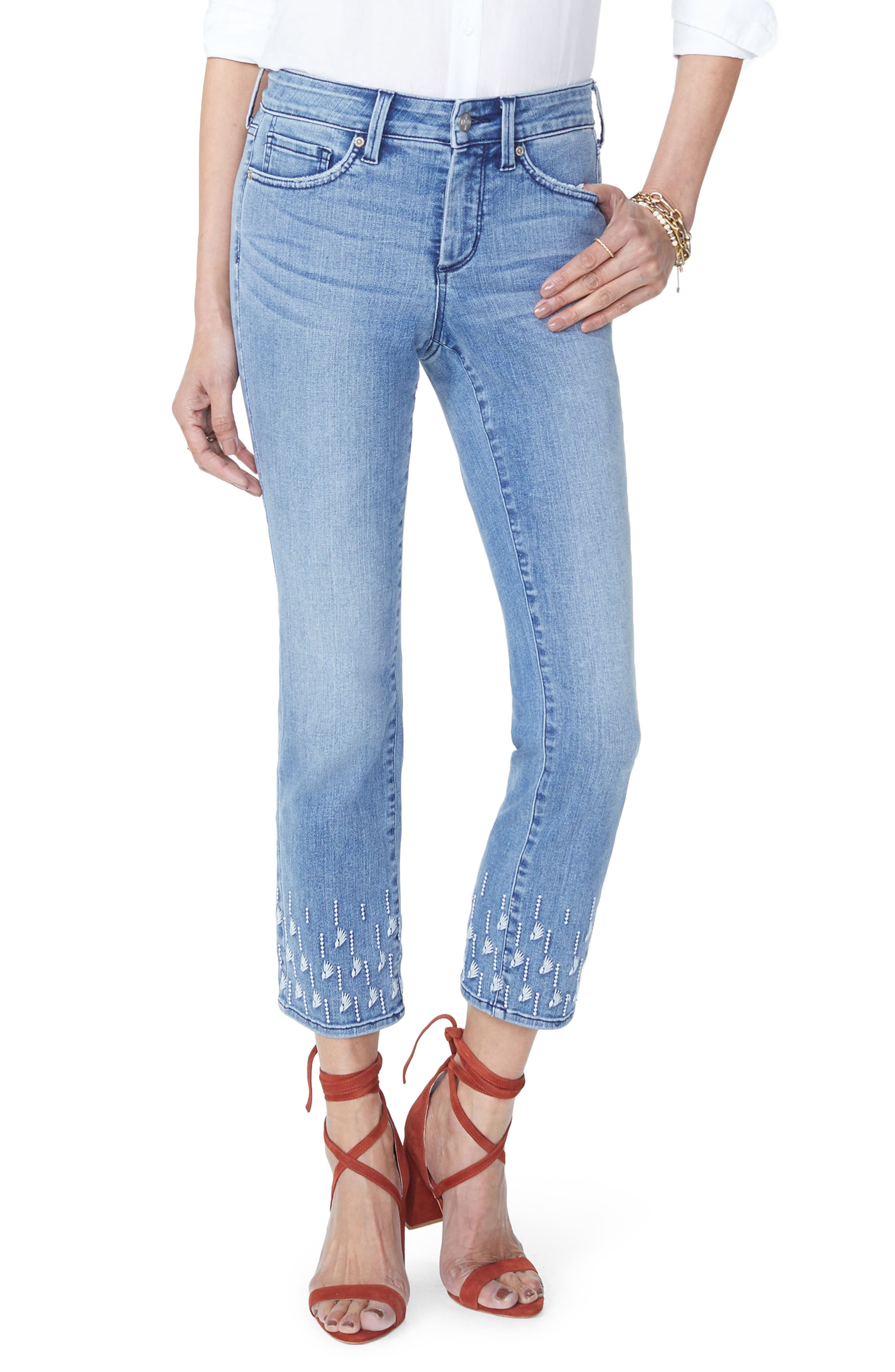 NYDJ,                             Sheri Embroidered Stretch Slim Ankle Jeans,                             Main thumbnail 1, color,                             POINT DUME