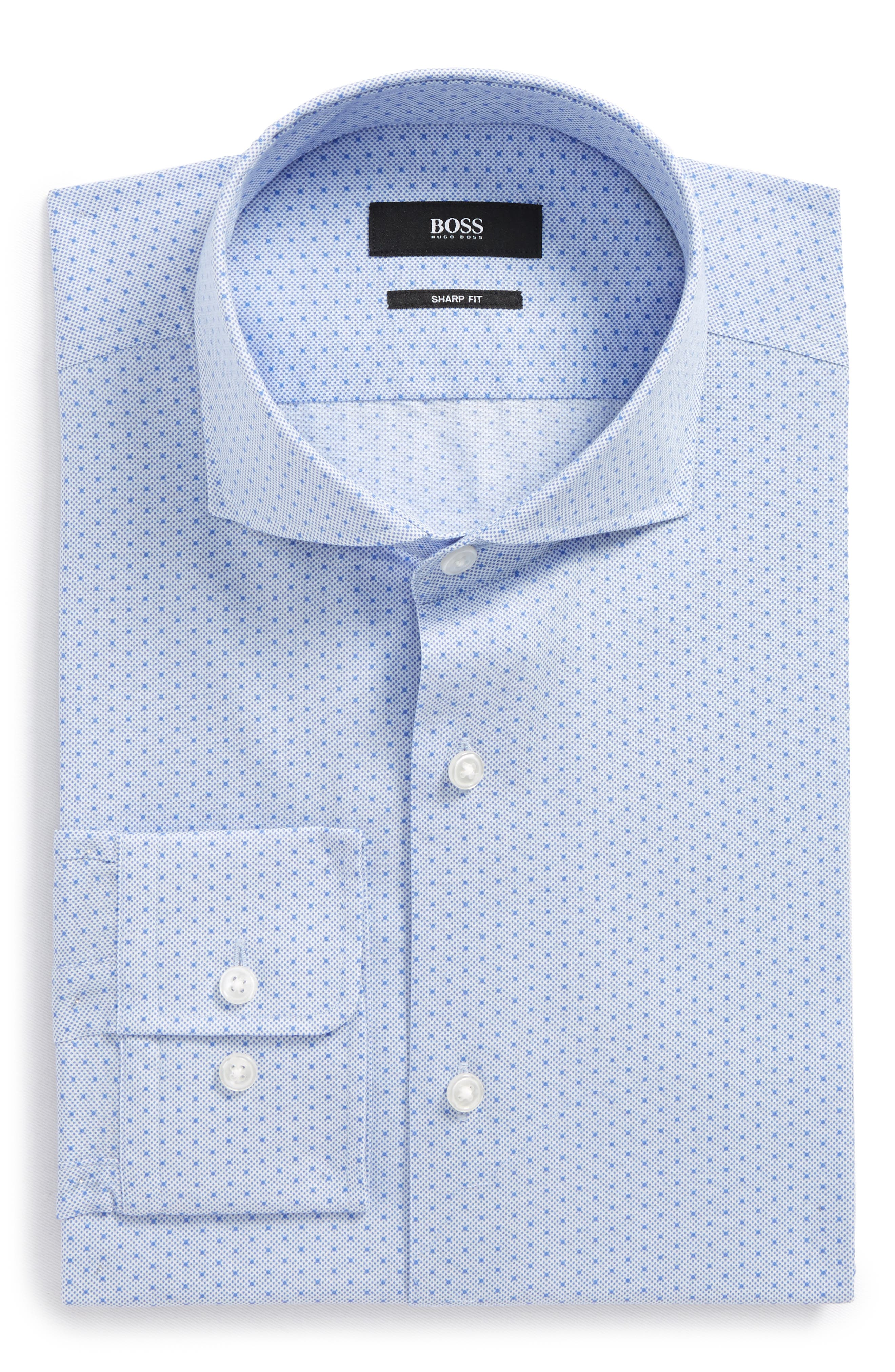 Mark Sharp Fit Dot Dress Shirt,                         Main,                         color, BLUE