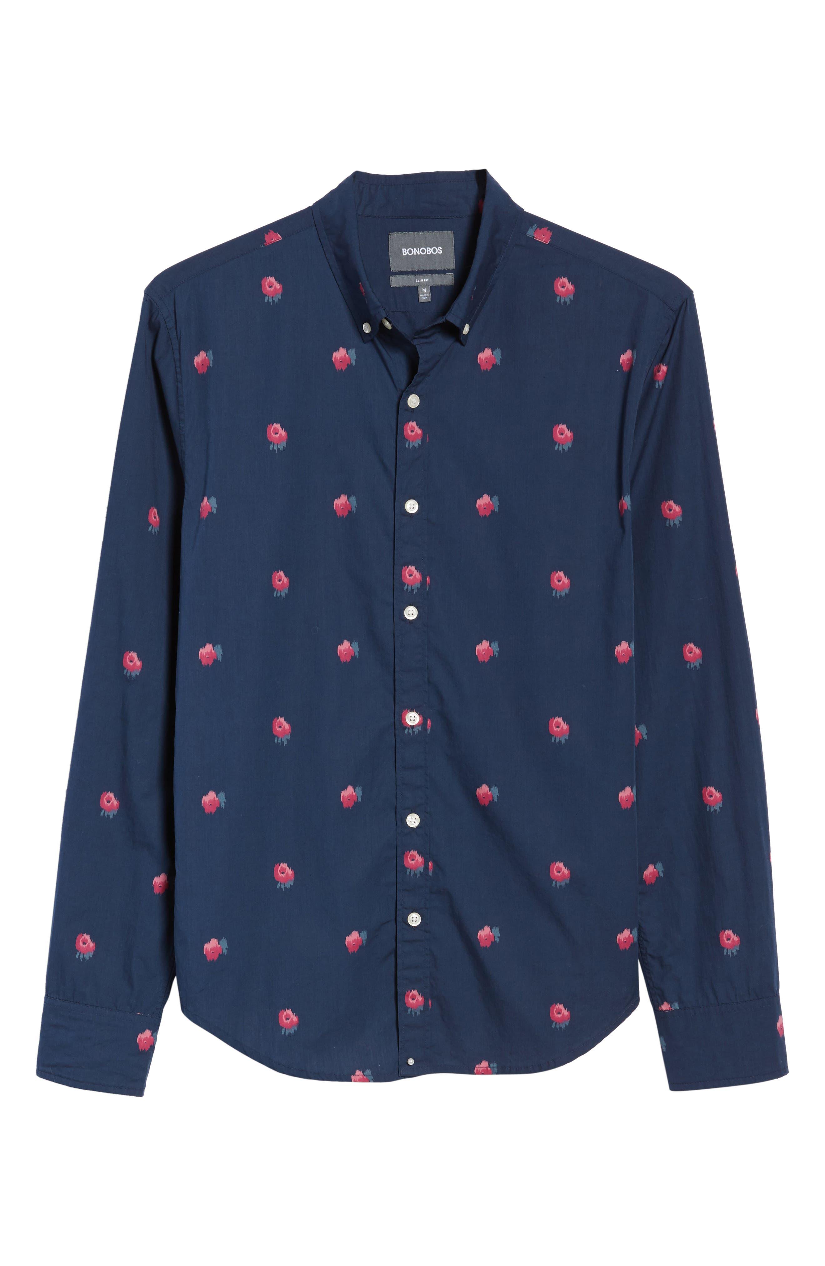 Slim Fit Washed Rose Print Sport Shirt,                             Alternate thumbnail 6, color,                             400