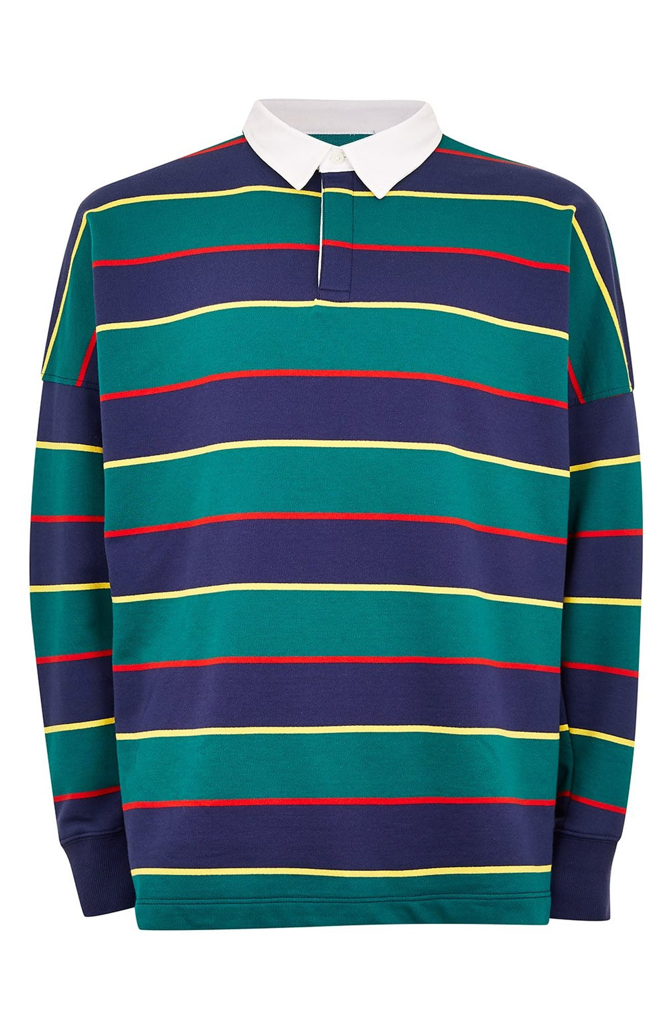 Rugby Stripe Shirt,                             Alternate thumbnail 4, color,                             GREEN MULTI
