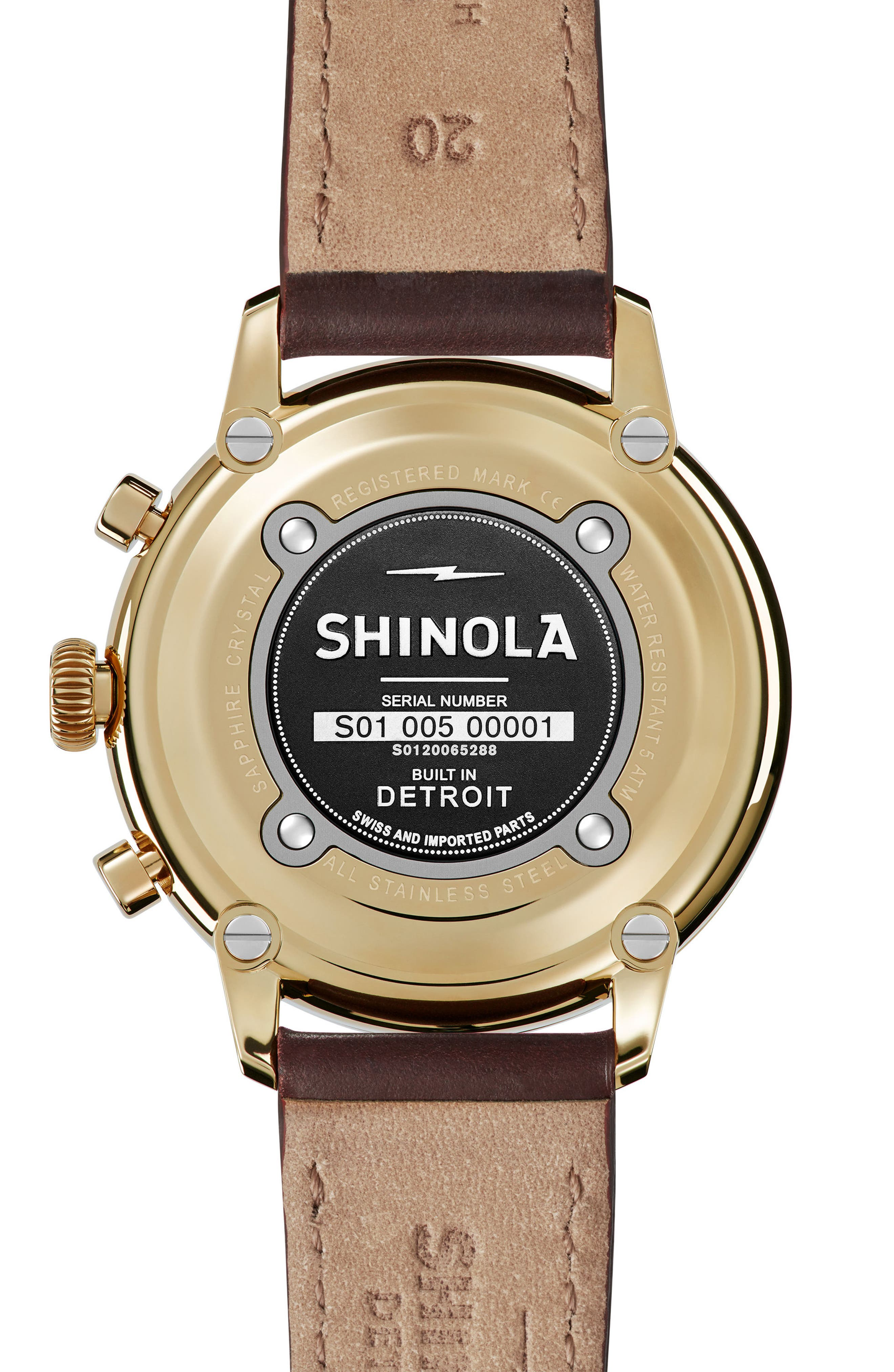 Bedrock Chronograph Leather Strap Watch, 42mm,                             Alternate thumbnail 2, color,                             BROWN/ GOLD