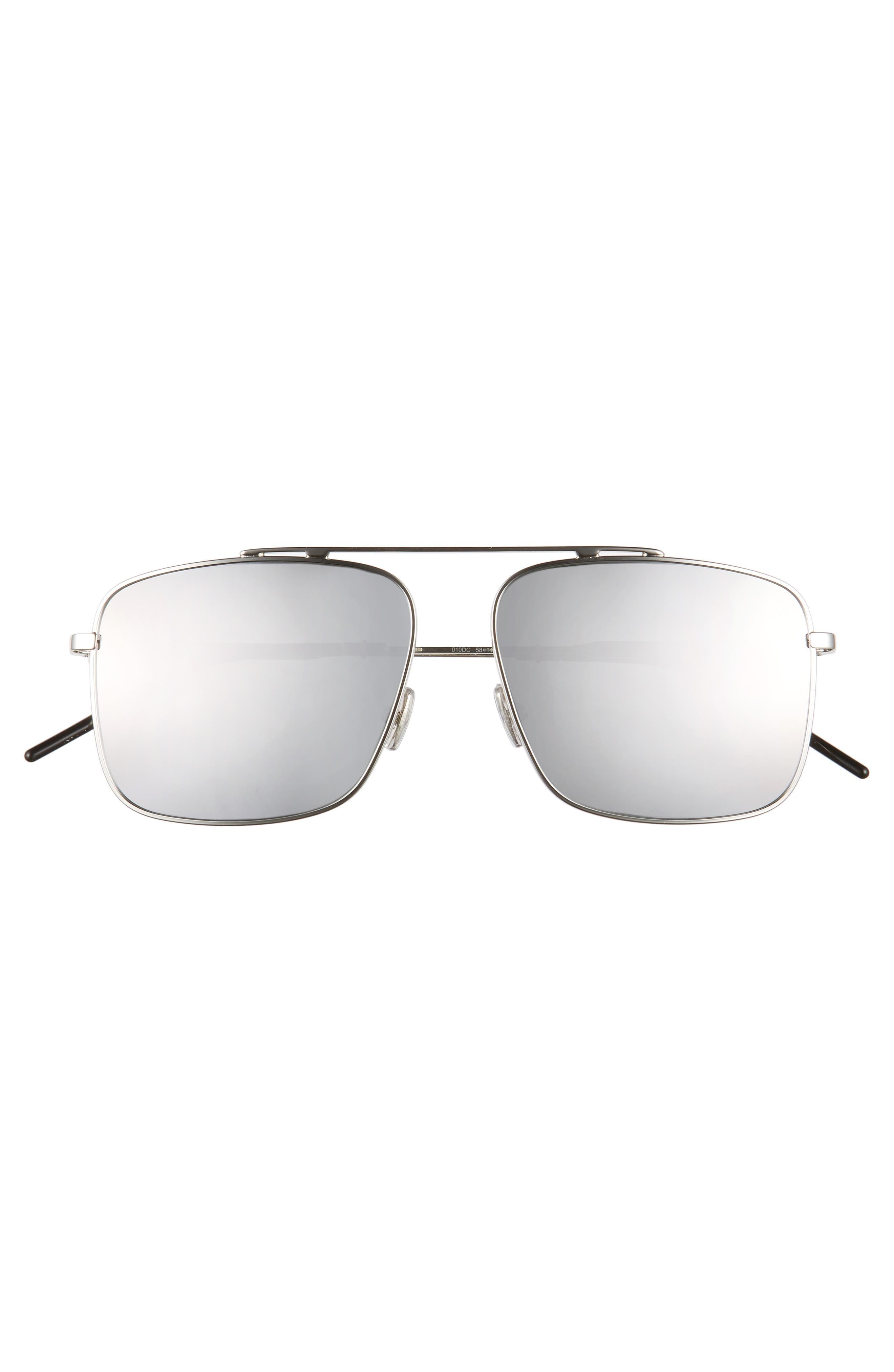 58mm Mirrored Navigator Sunglasses,                             Alternate thumbnail 2, color,                             PALLADIUM