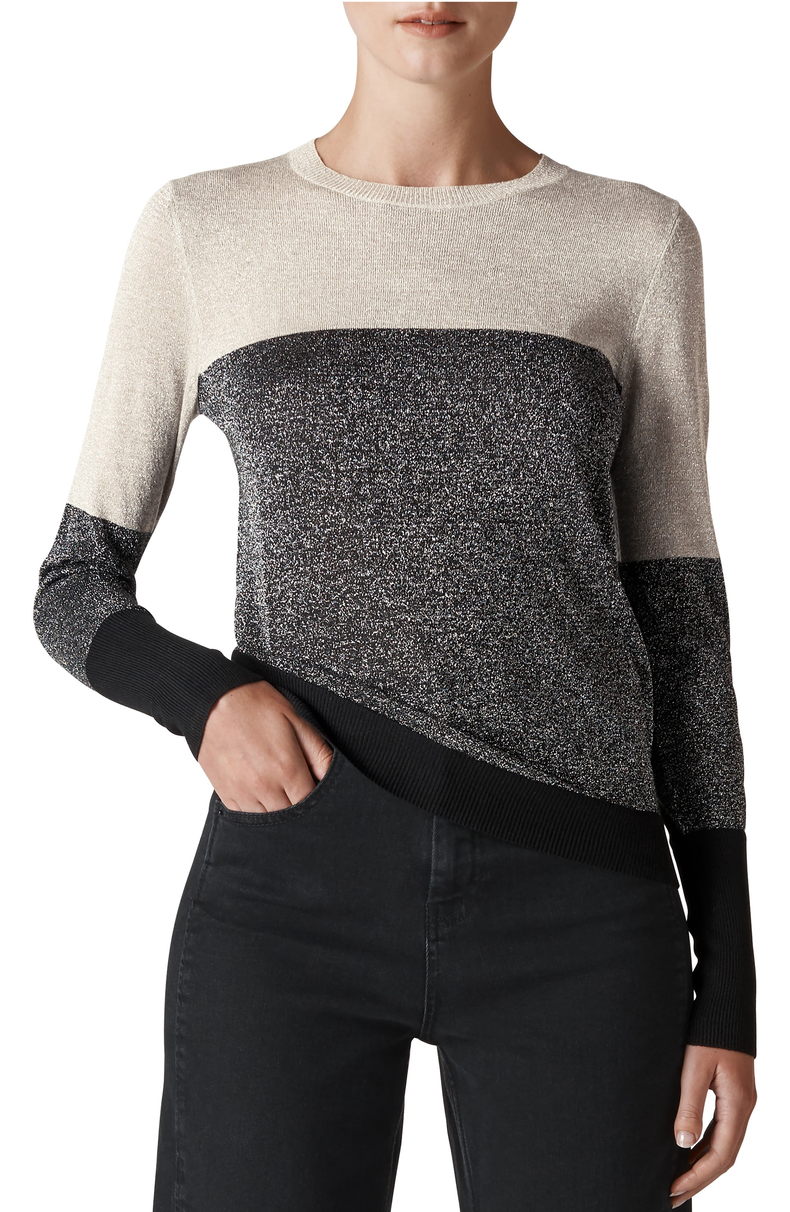 WHISTLES Colorblock Sparkle Sweater, Main, color, 022