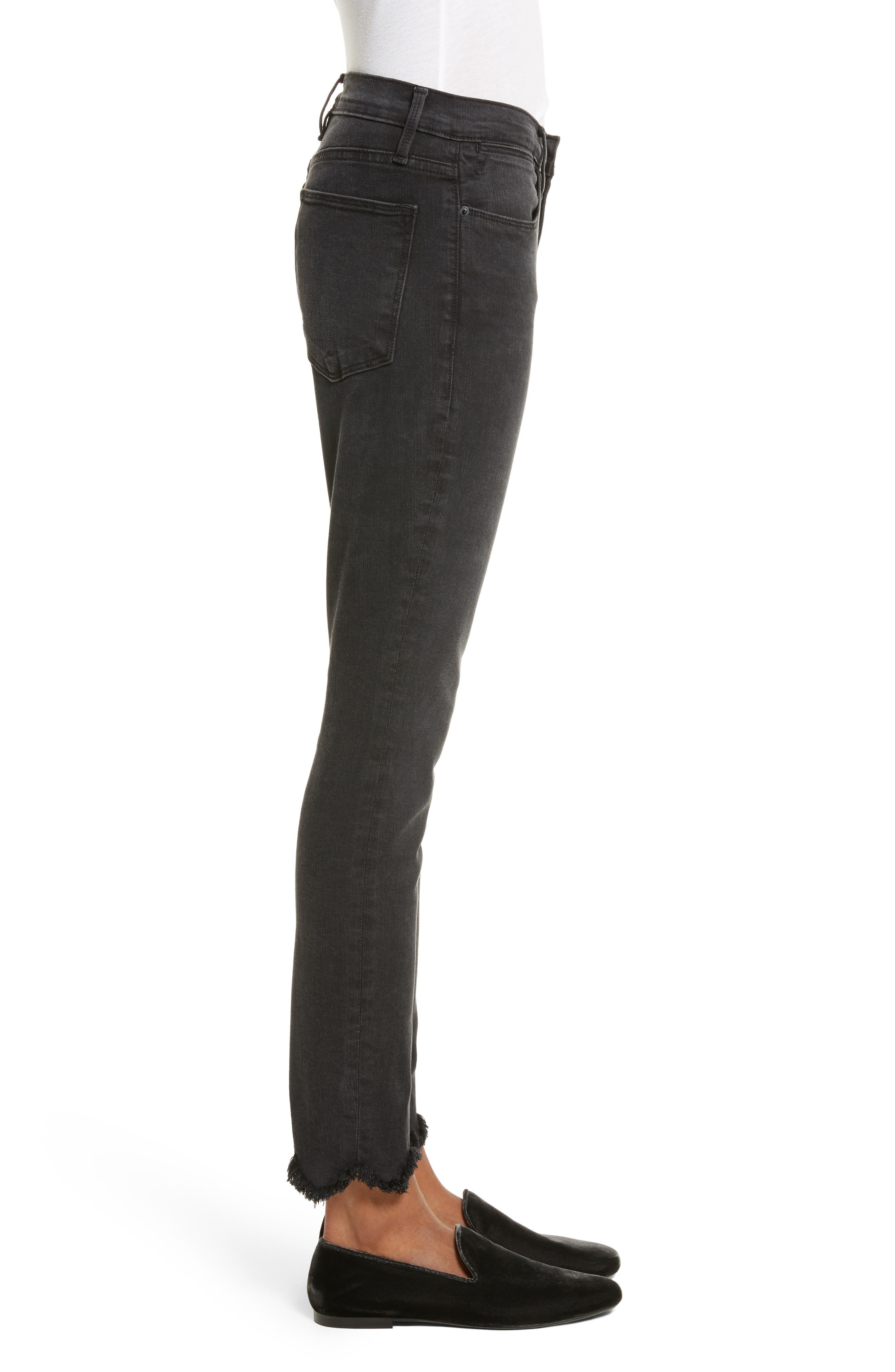 Le High Frayed Ankle Skinny Jeans,                             Alternate thumbnail 3, color,