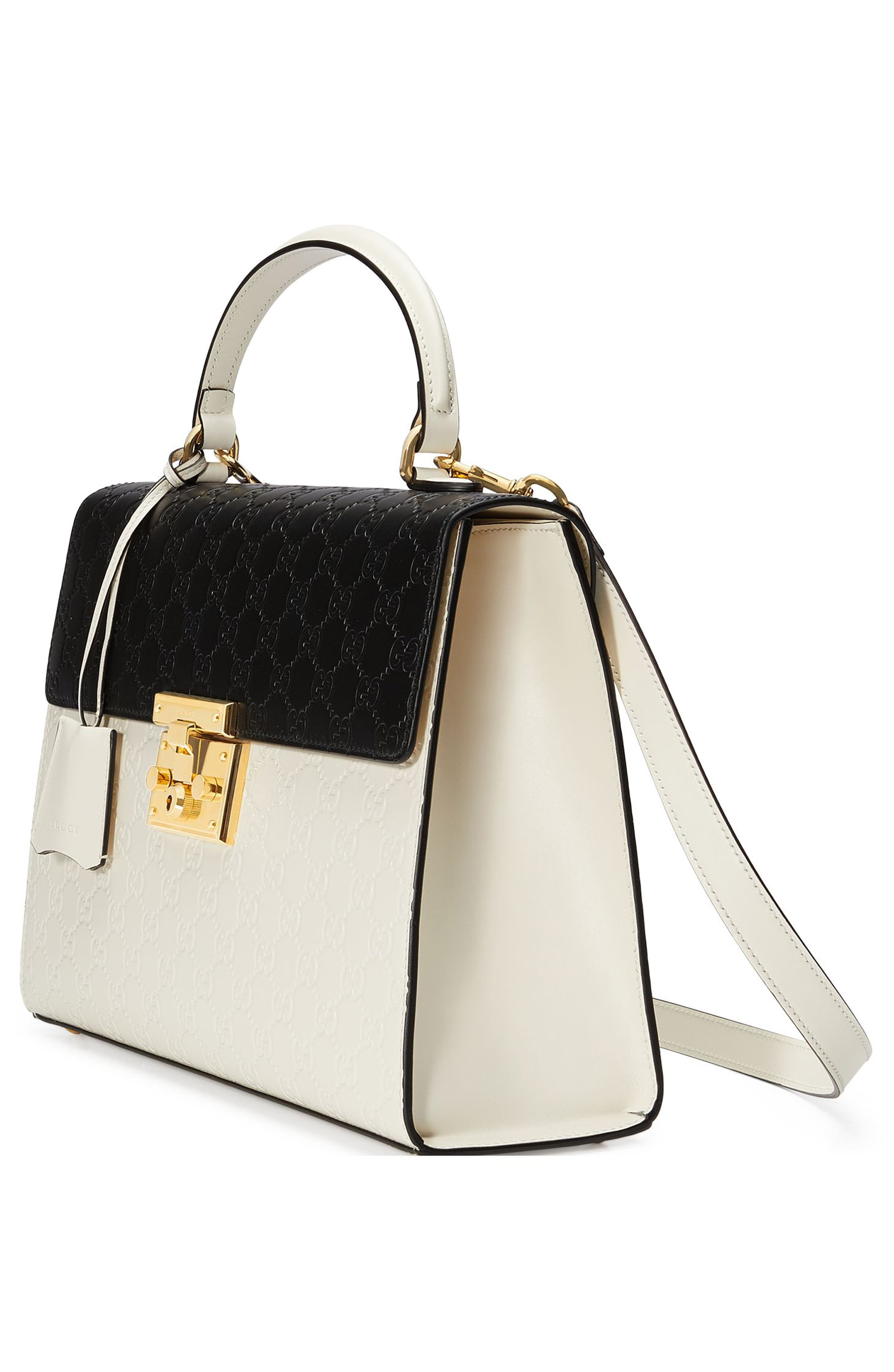 Medium Padlock Top Handles Signature Leather Satchel,                             Alternate thumbnail 4, color,                             MYSTIC WHITE/NERO