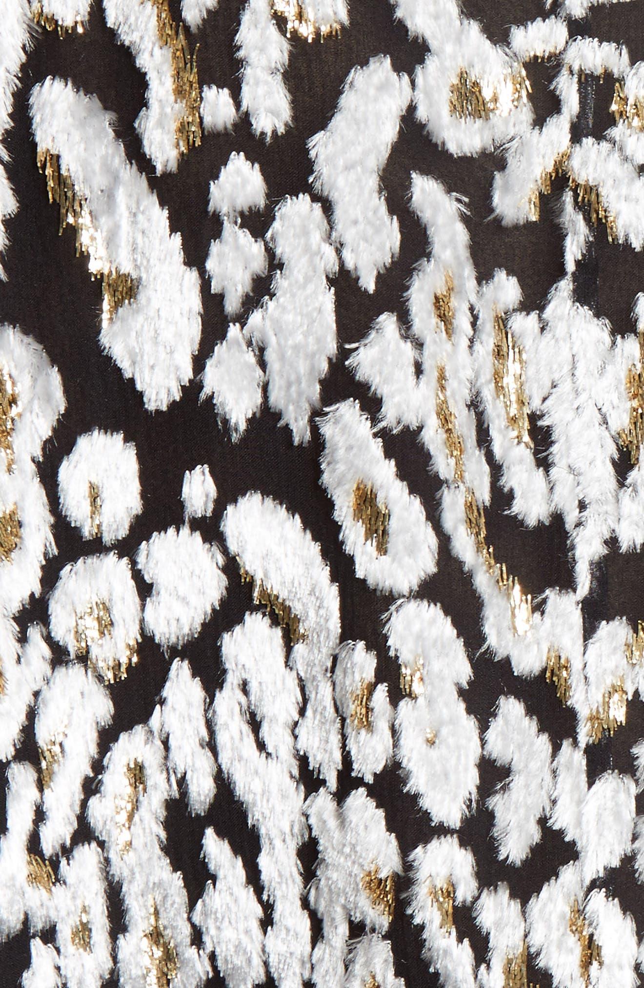 Ocelot Print Velvet Jacquard Dress,                             Alternate thumbnail 5, color,                             001