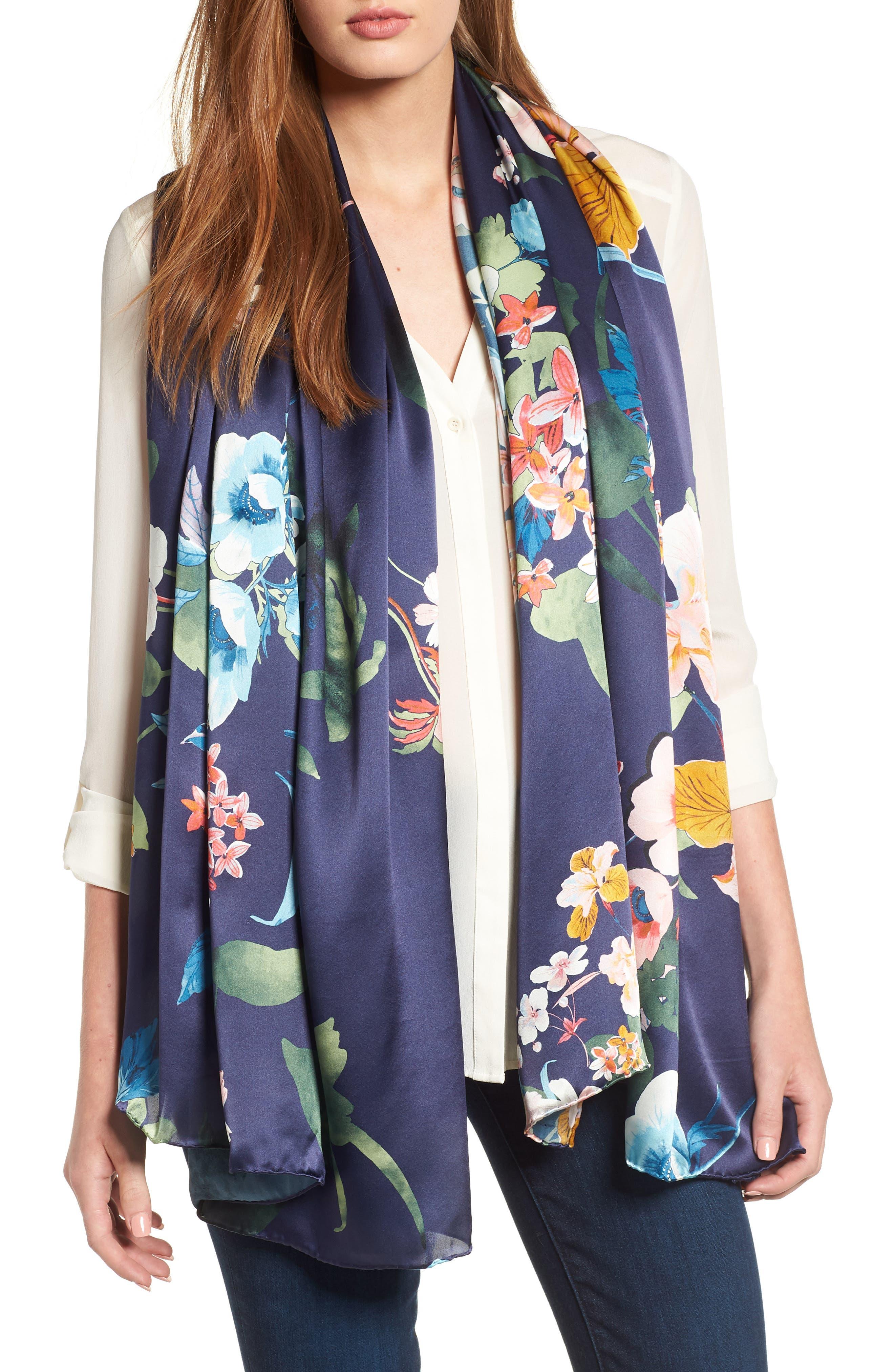 Flower Print Silk Wrap,                         Main,                         color, 410