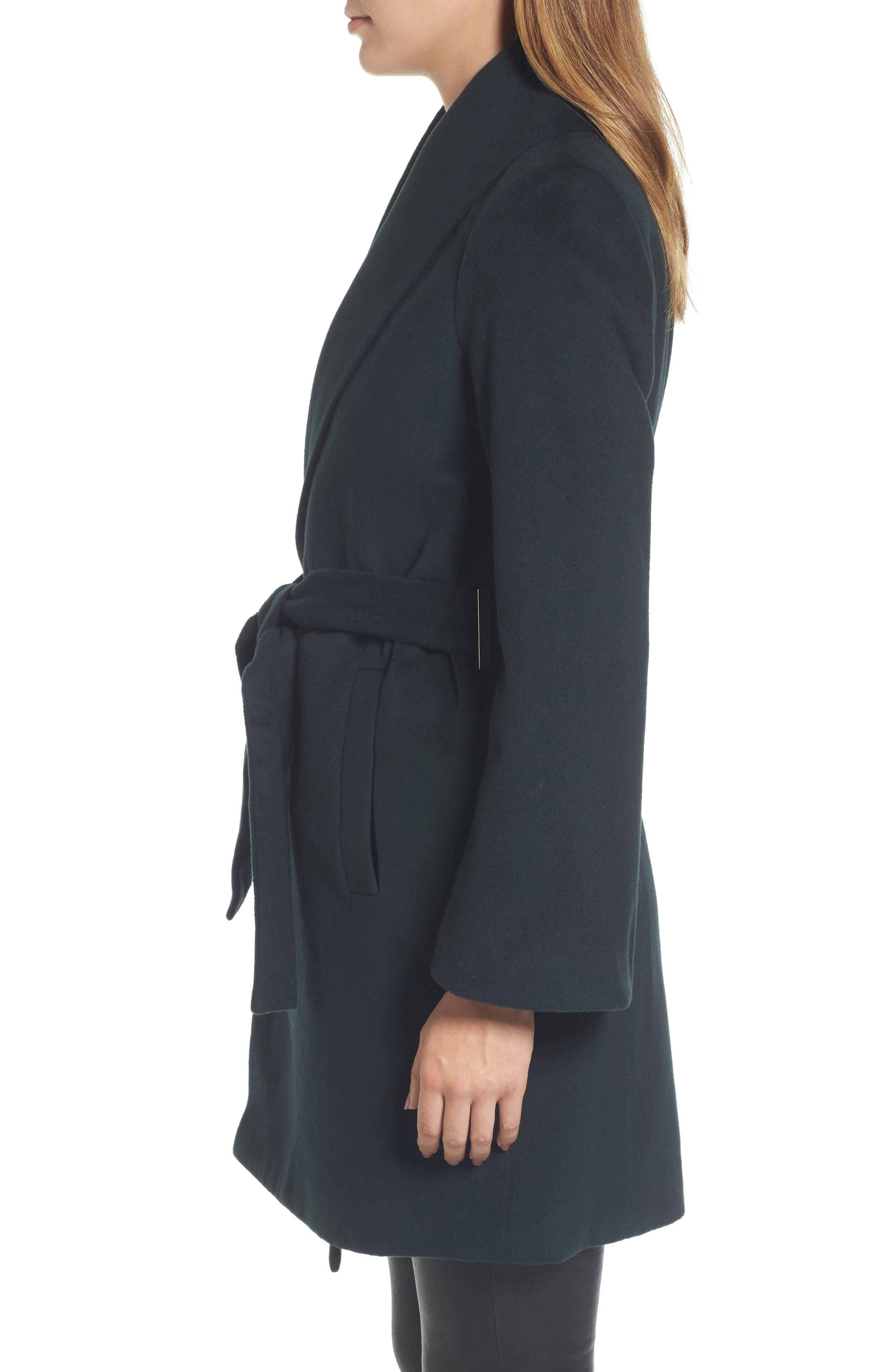 Gabrielle Wool Blend Long Wrap Coat,                             Alternate thumbnail 3, color,                             354