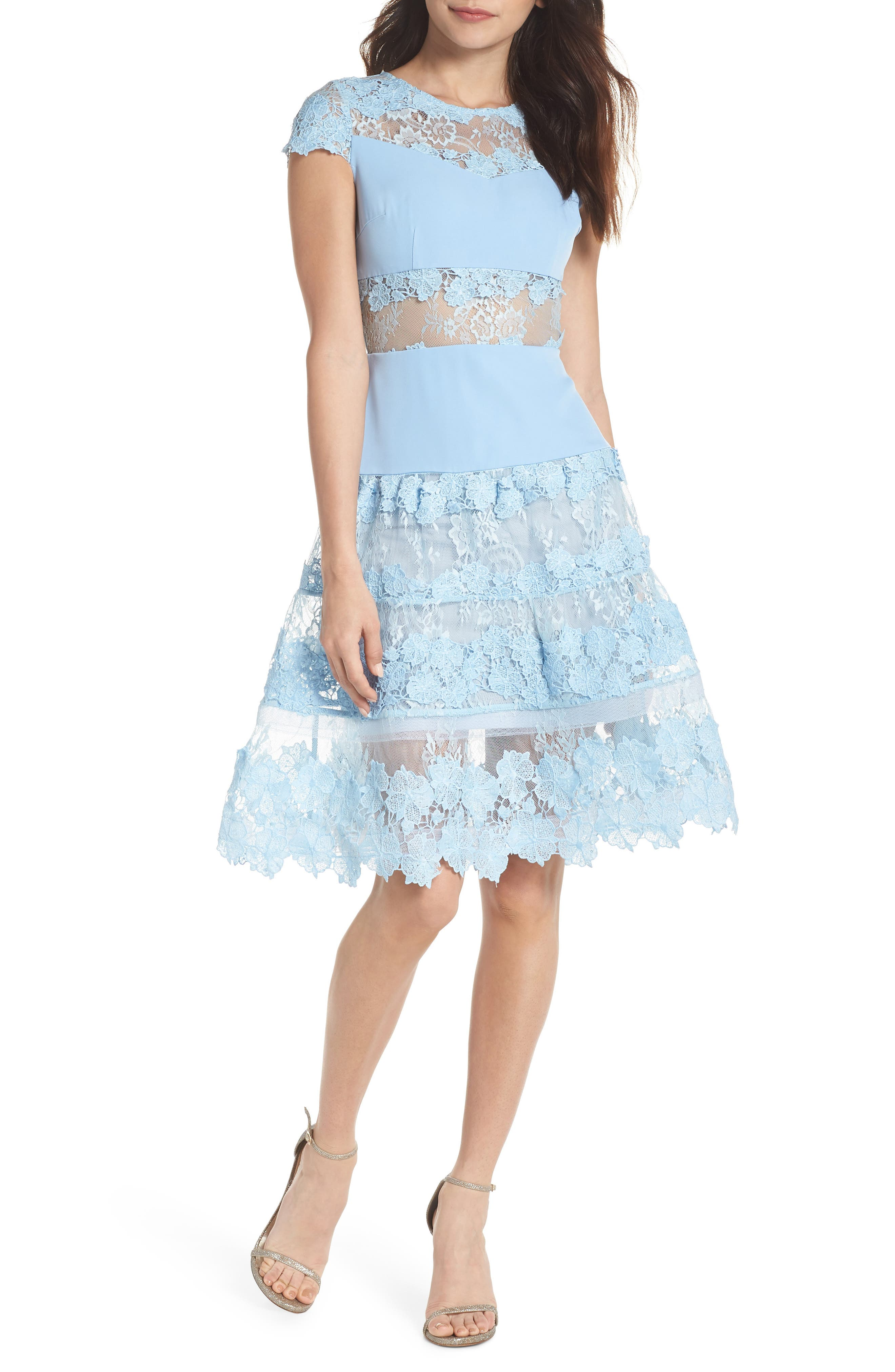 Flamenco Lace Fit & Flare Dress,                         Main,                         color, 450