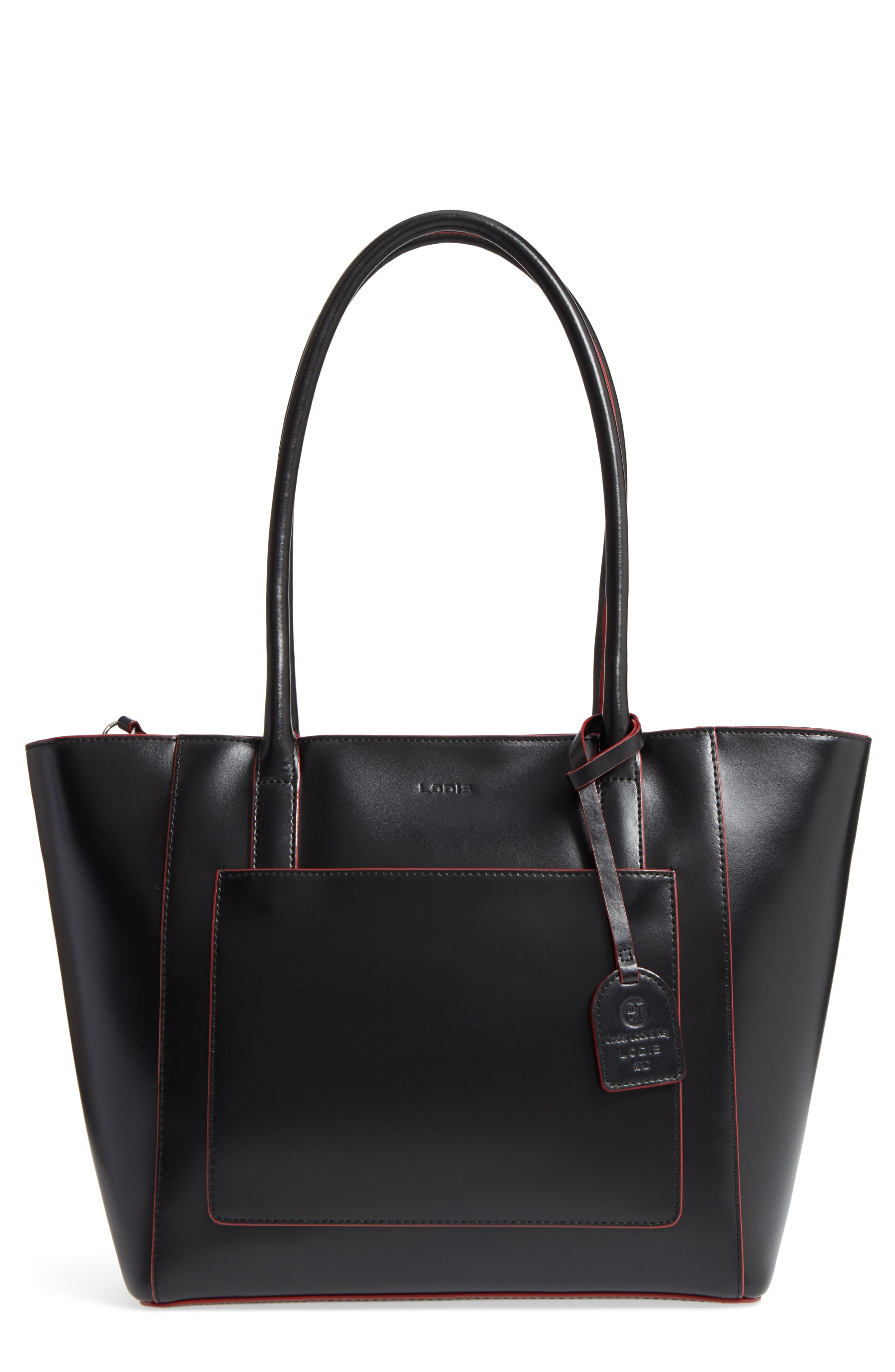 Audrey Under Lock & Key - Medium Margaret RFID Leather Tote with Zip Pouch,                             Main thumbnail 1, color,                             001