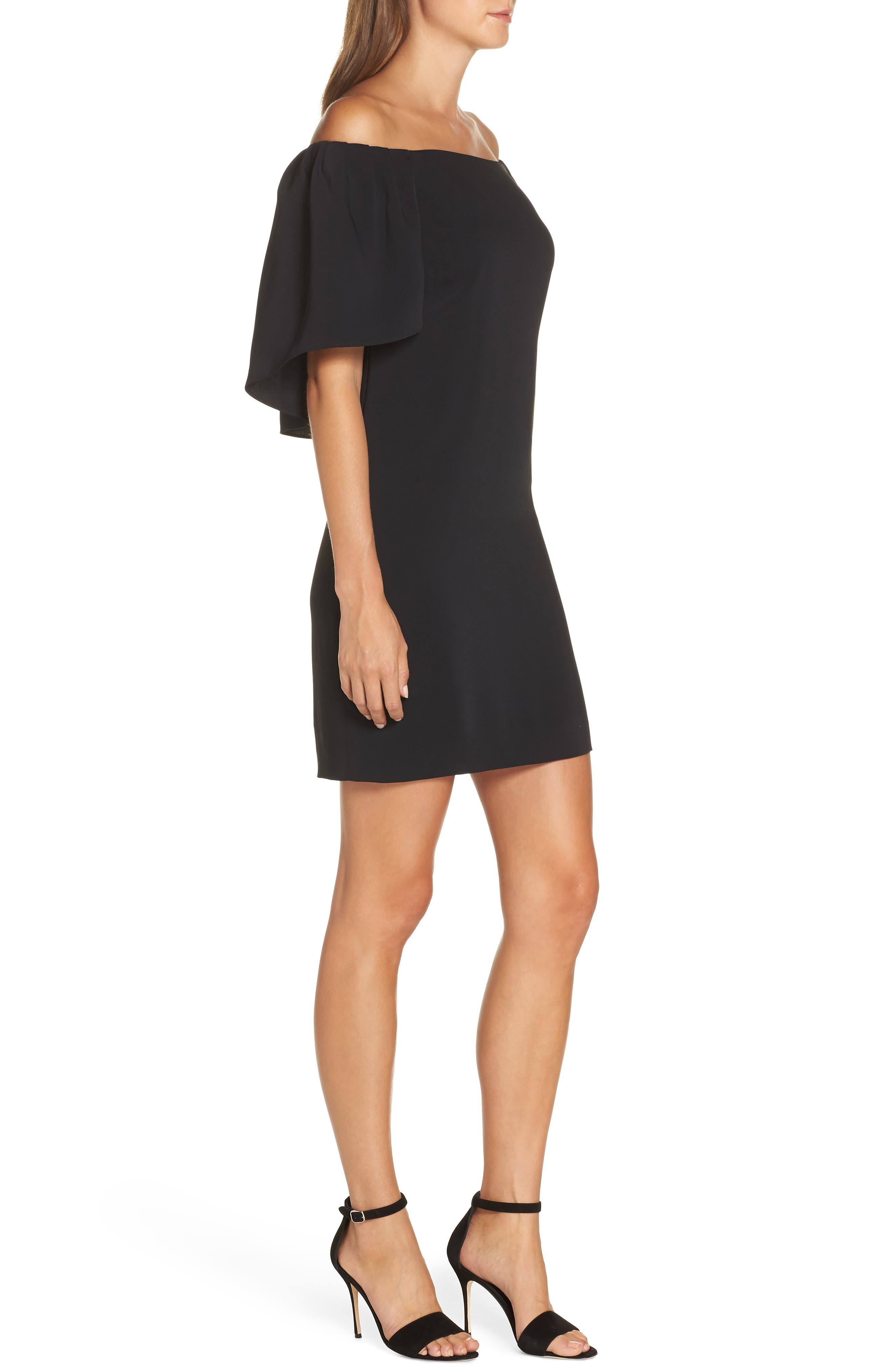 TRINA TRINA TURK,                             Zeal Off the Shoulder Dress,                             Alternate thumbnail 3, color,                             001