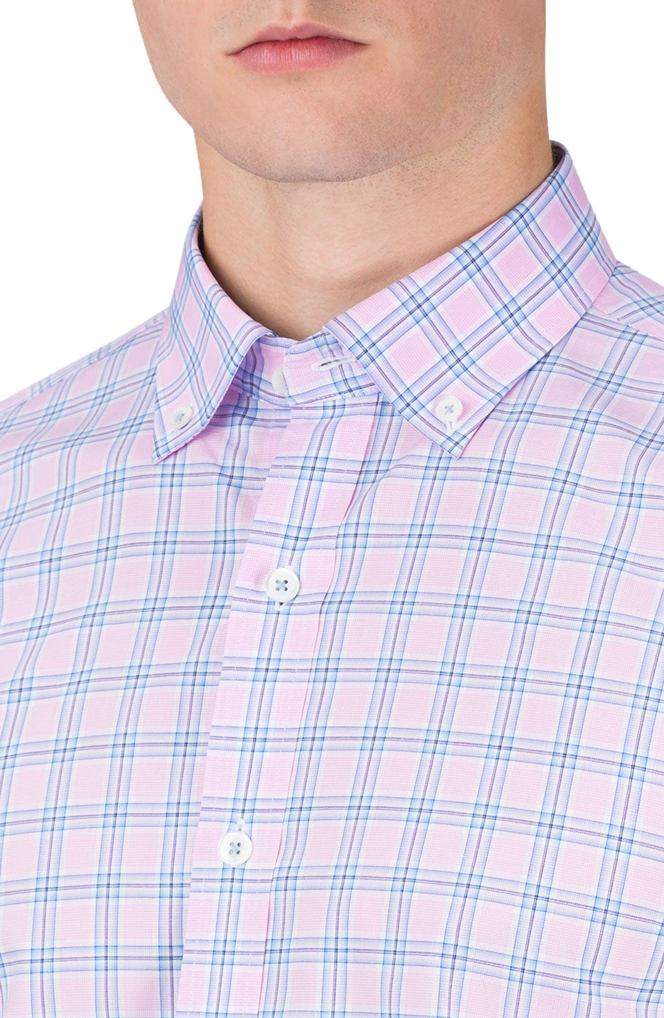 Shaped Fit Check Sport Shirt,                             Alternate thumbnail 3, color,                             682