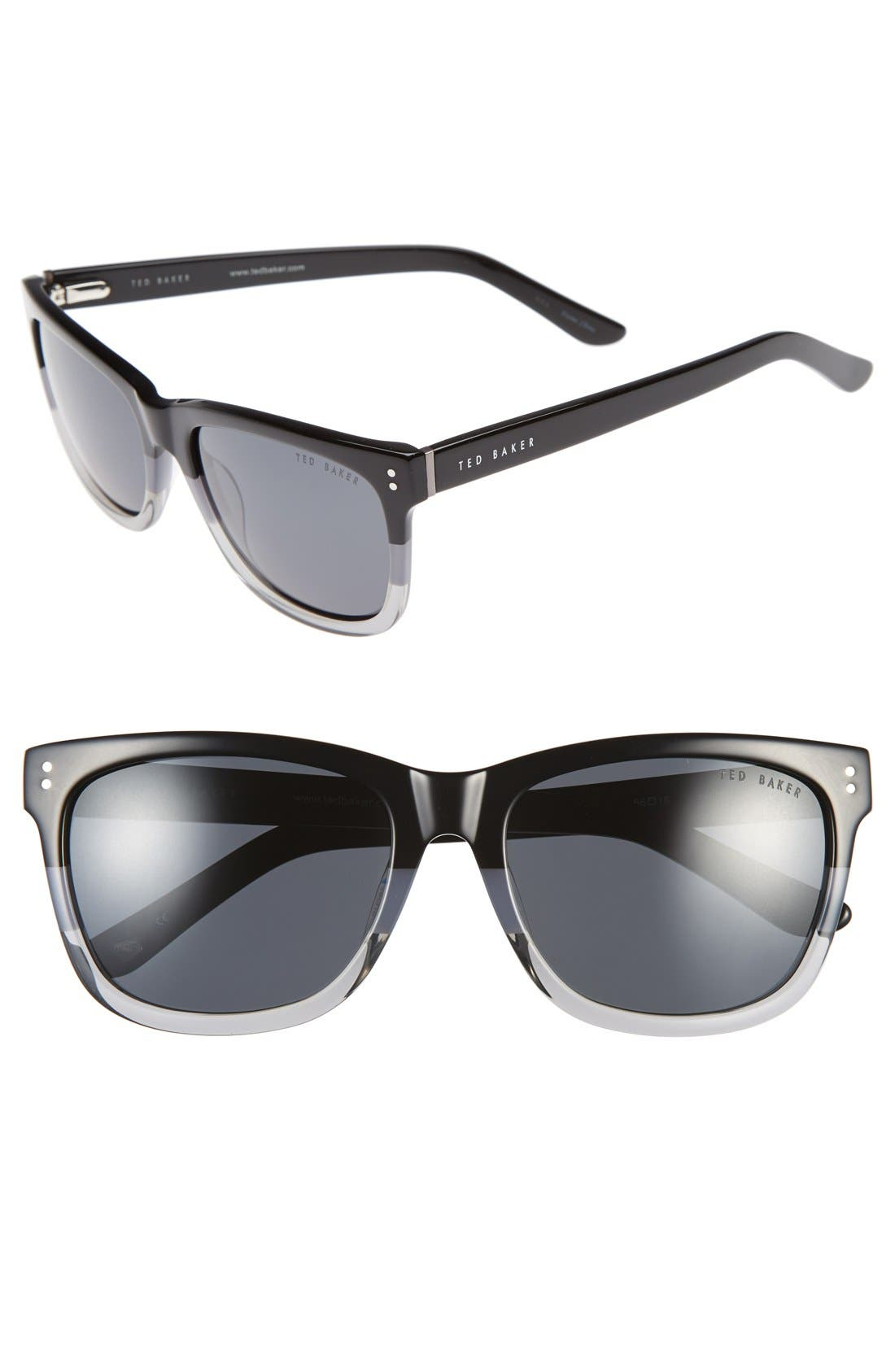 56mm Polarized Retro Sunglasses,                             Main thumbnail 1, color,                             001