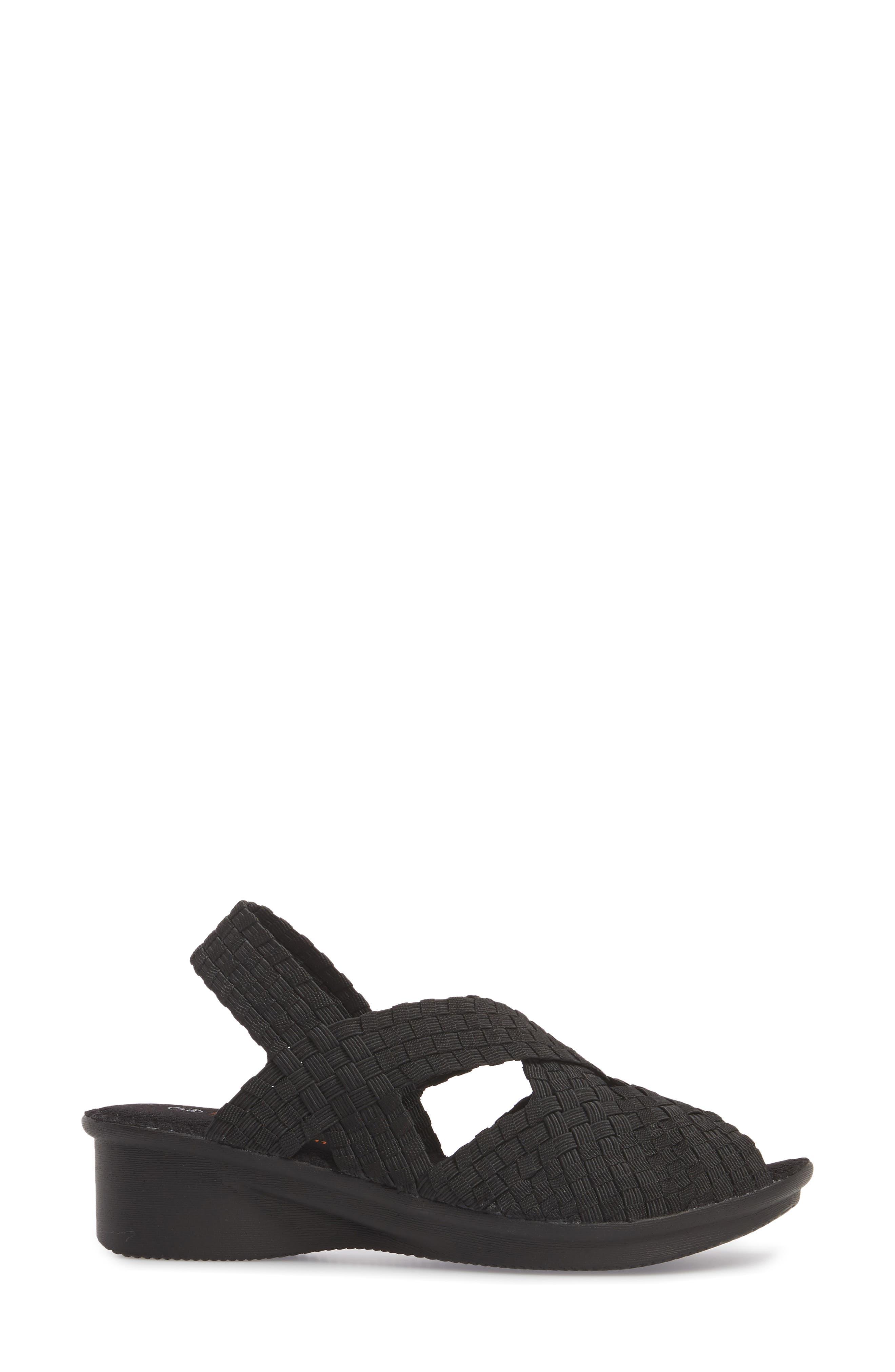 Kira Wedge Sandal,                             Alternate thumbnail 3, color,                             BLACK FABRIC