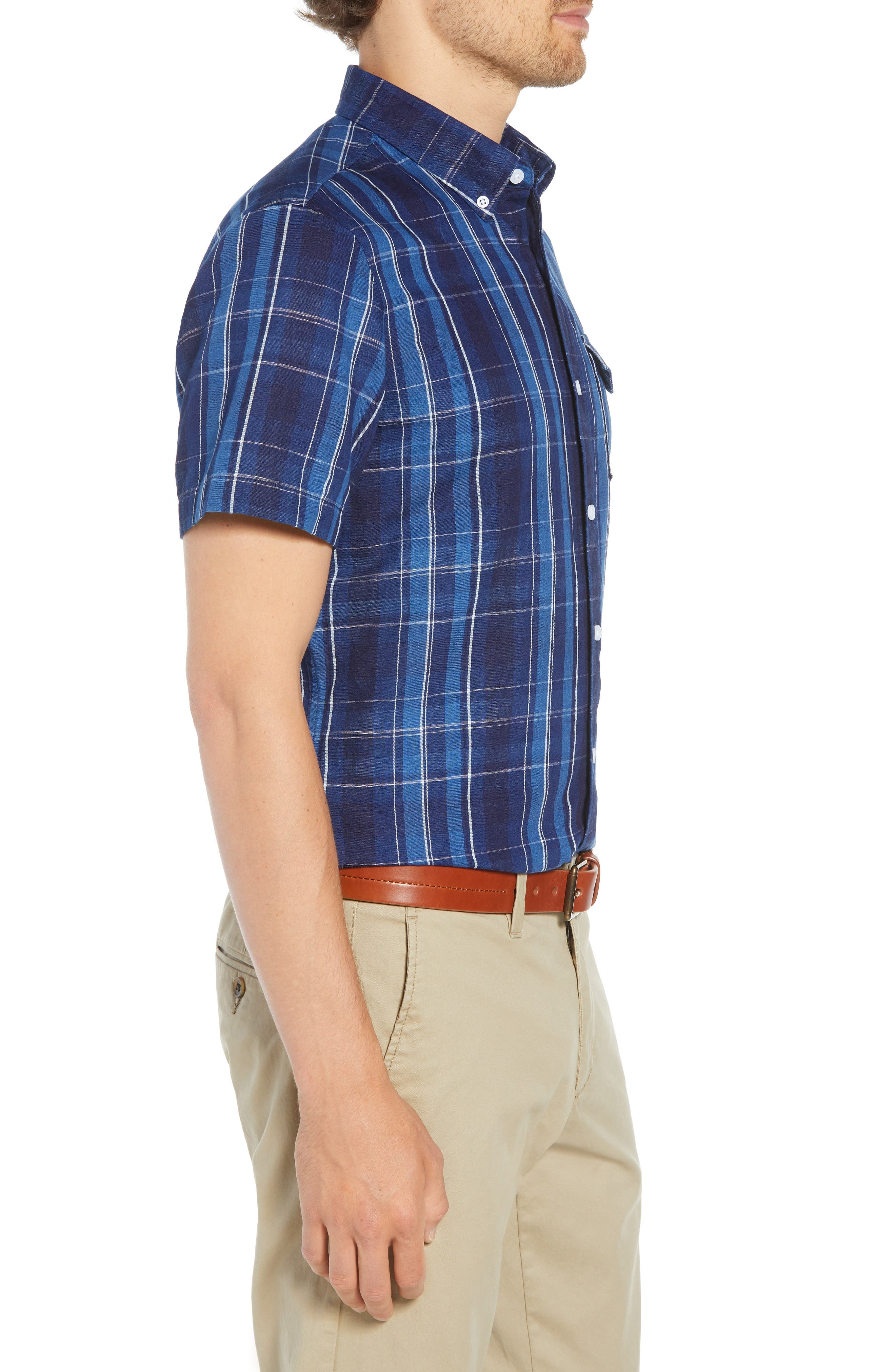 Ivy Trim Fit Plaid Cotton & Linen Sport Shirt,                             Alternate thumbnail 3, color,                             410