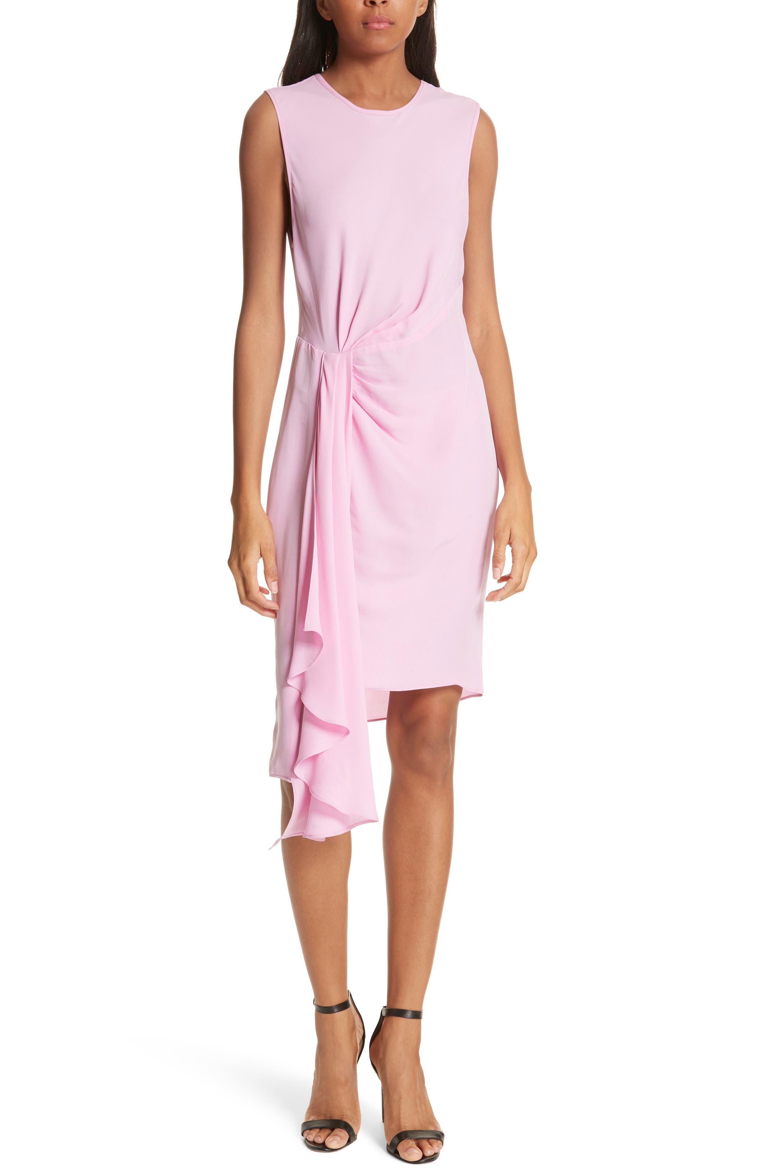 Rachael Front Drape Dress,                         Main,                         color, BUBBLEGUM