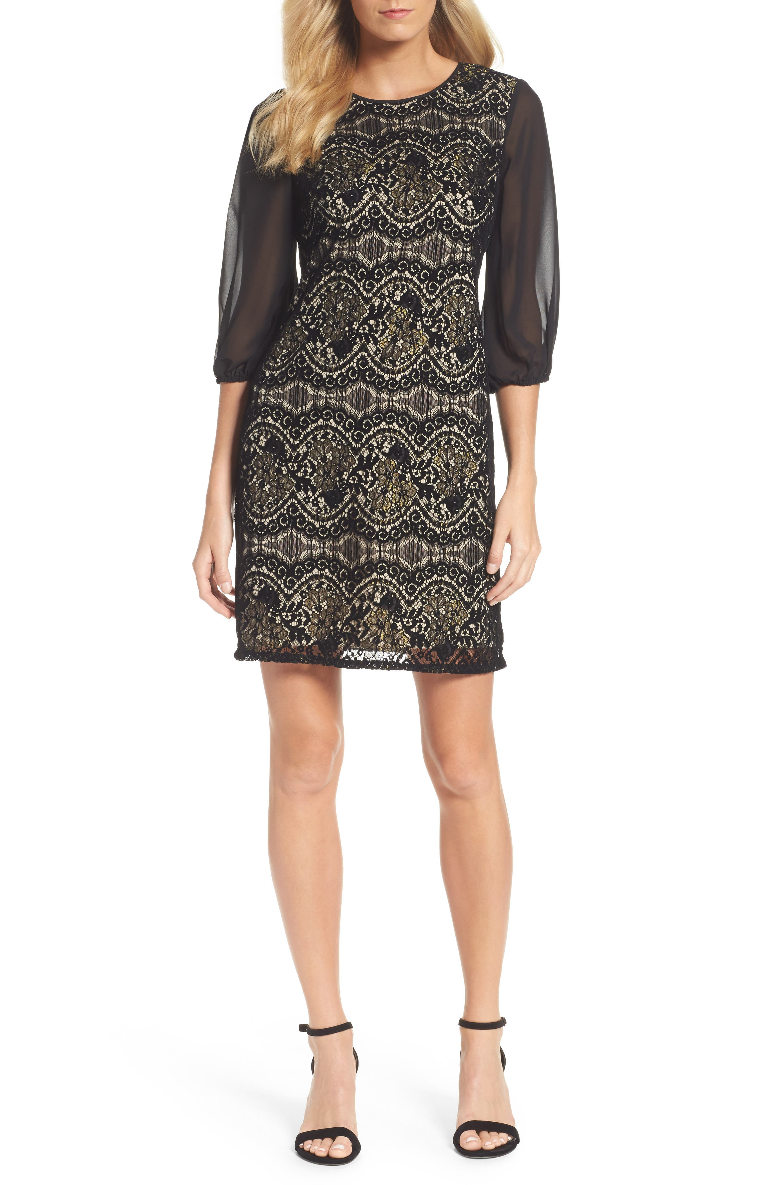 Flocked Lace Shift Dress,                         Main,                         color,
