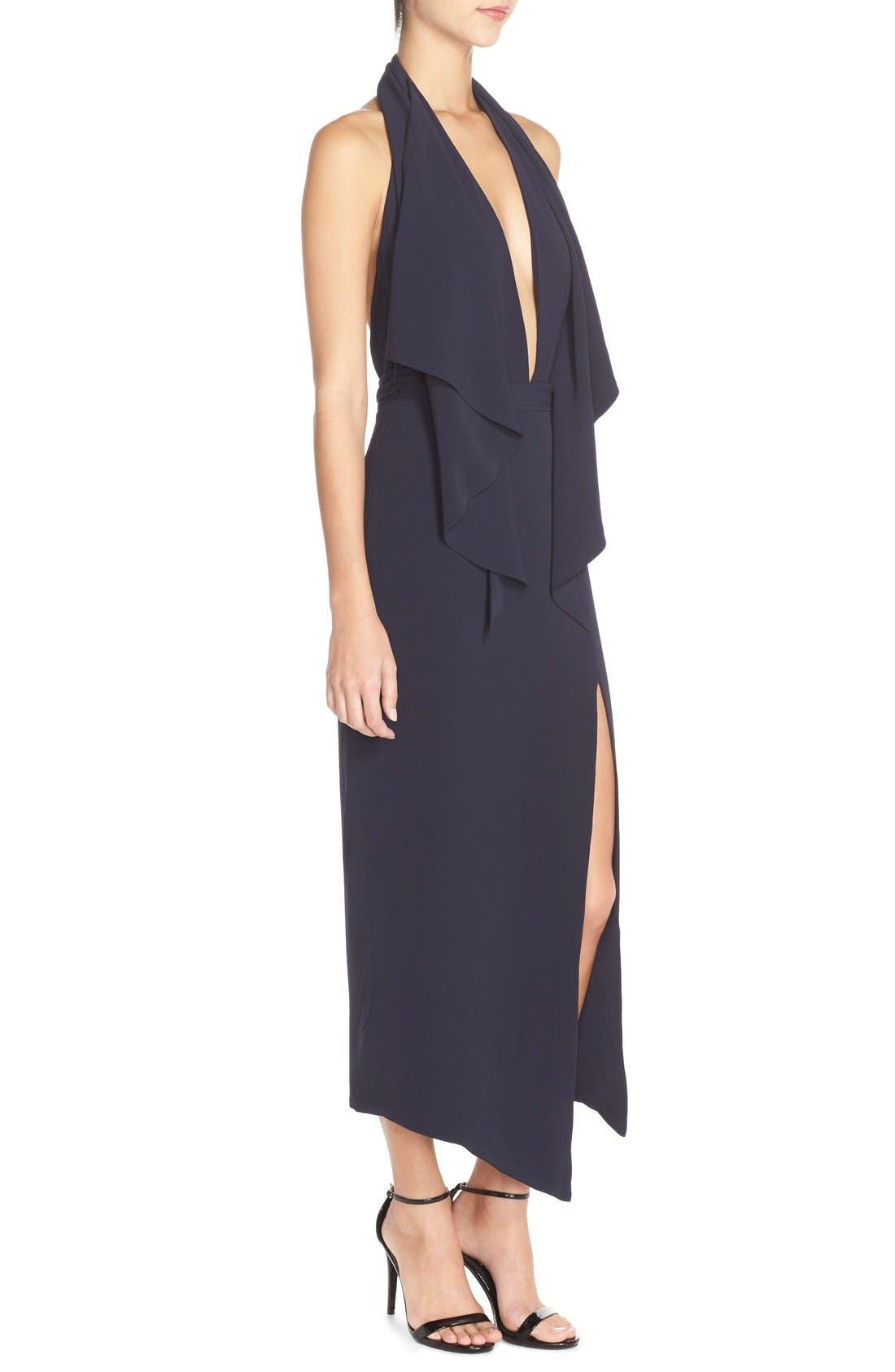 Crepe Halter Dress,                             Alternate thumbnail 3, color,                             410