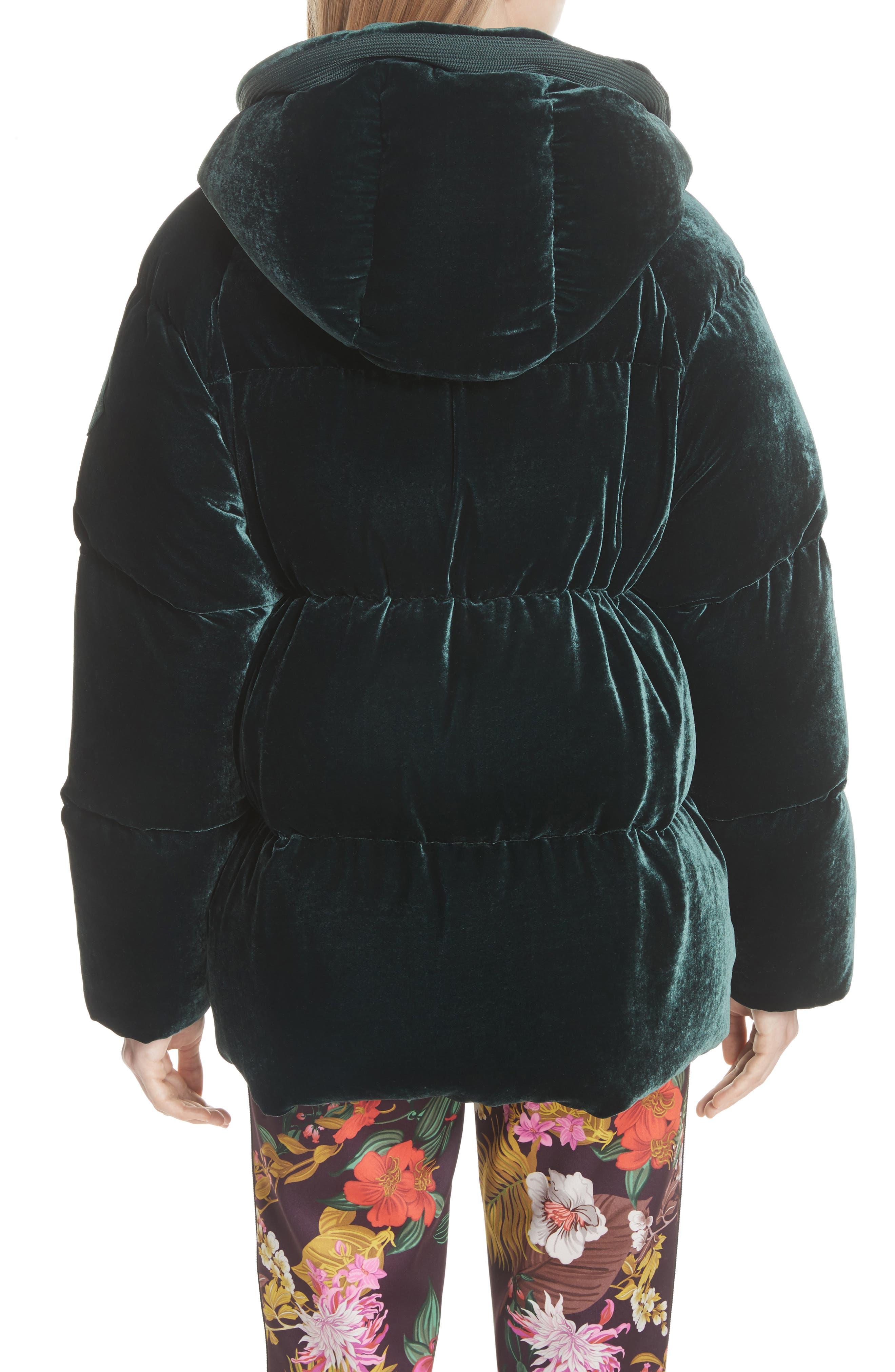MONCLER,                             Butor Hooded Velvet Down Coat,                             Alternate thumbnail 2, color,                             FOREST GREEN