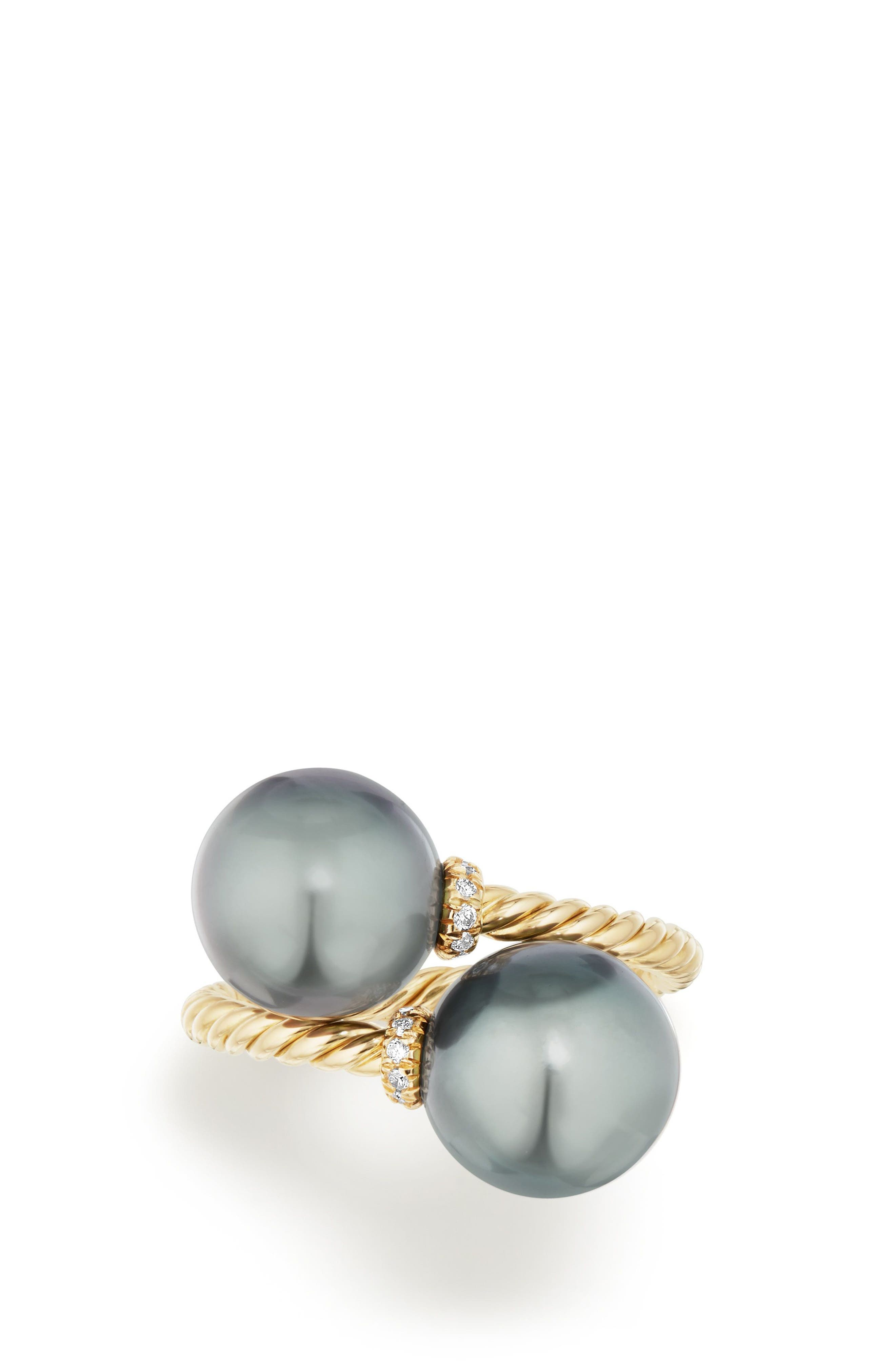 Solari Bypass Ring with Diamond in 18K Gold,                             Alternate thumbnail 3, color,                             GOLD/ DIAMOND/ GREY PEARL