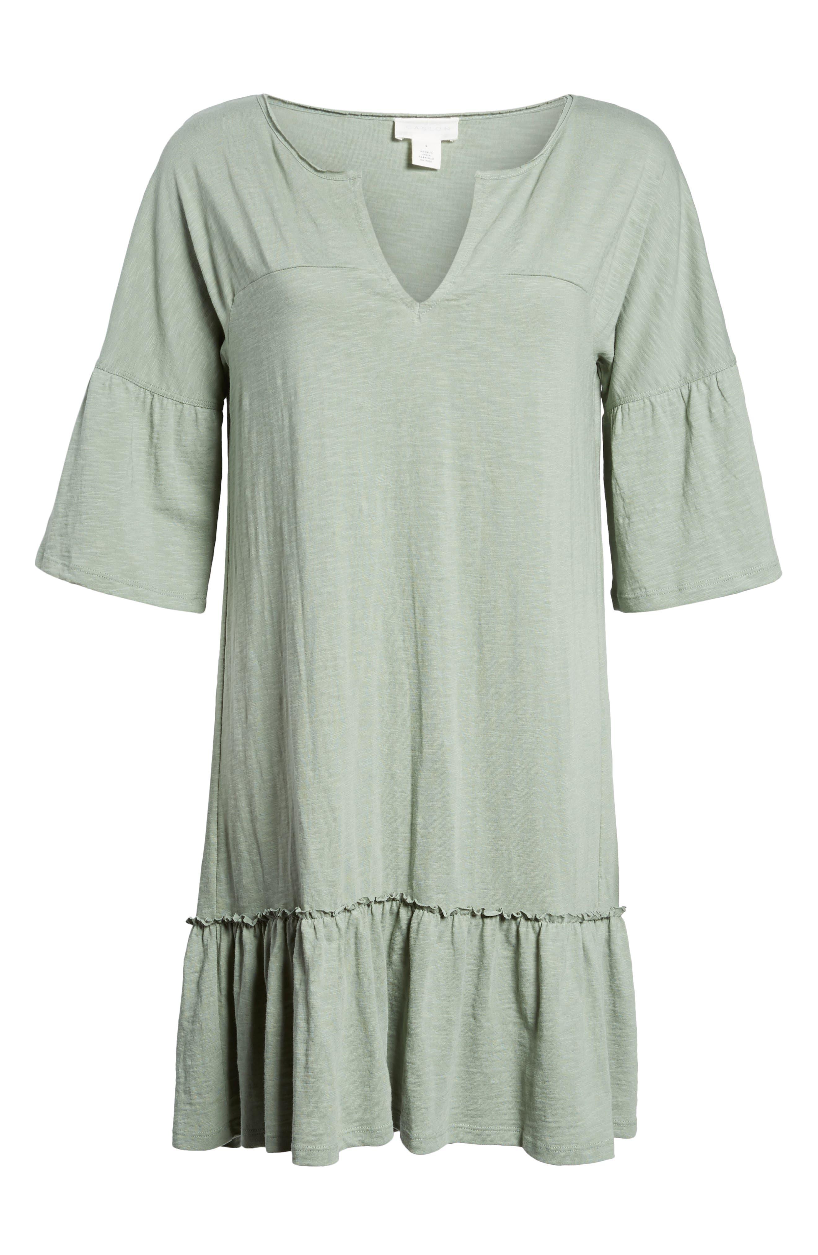 Ruffle Sleeve Cotton Dress,                             Alternate thumbnail 7, color,                             310