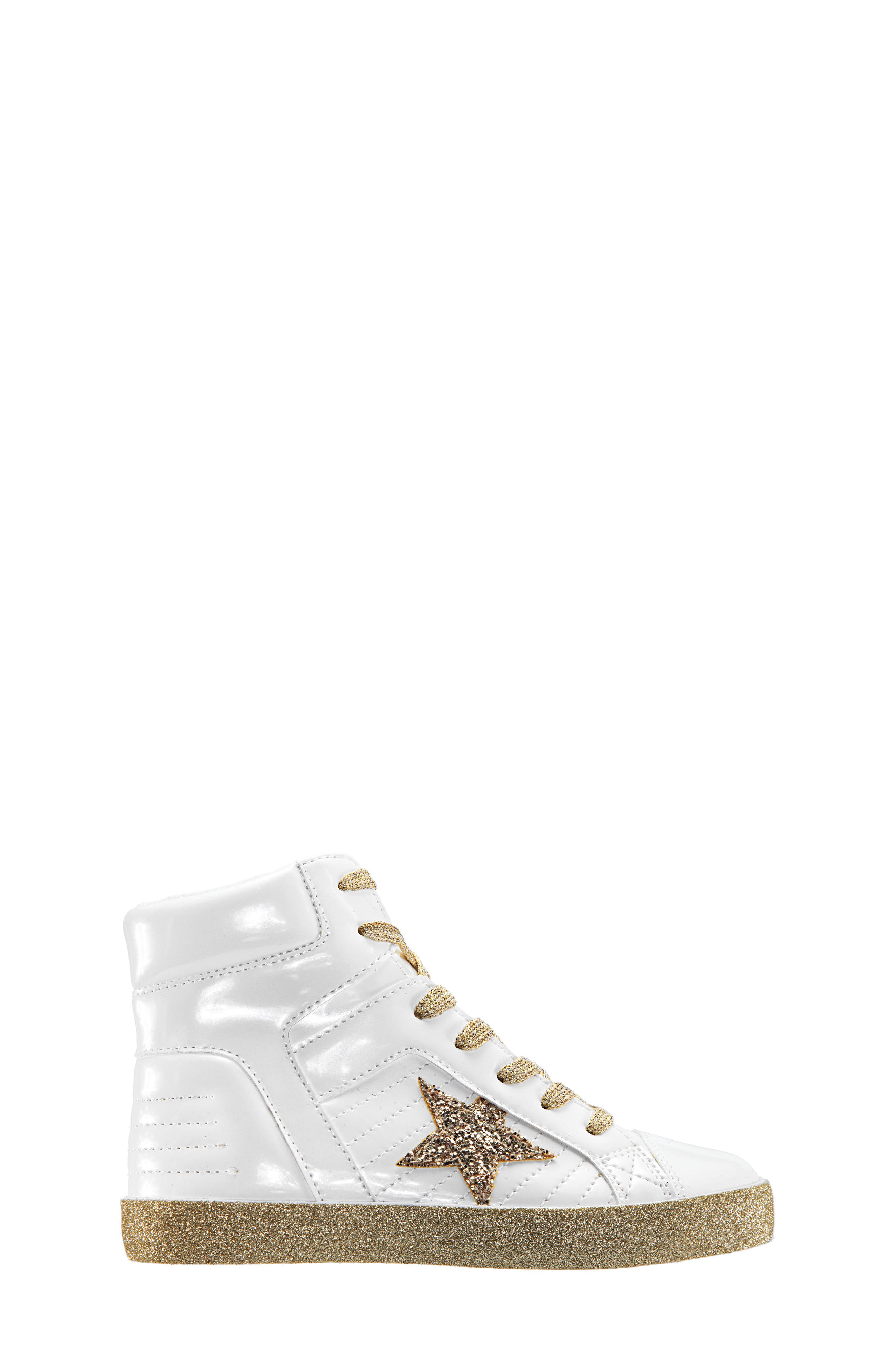 Jesy Glitter High Top Sneaker,                             Alternate thumbnail 3, color,                             WHITE PEARLIZED PATENT