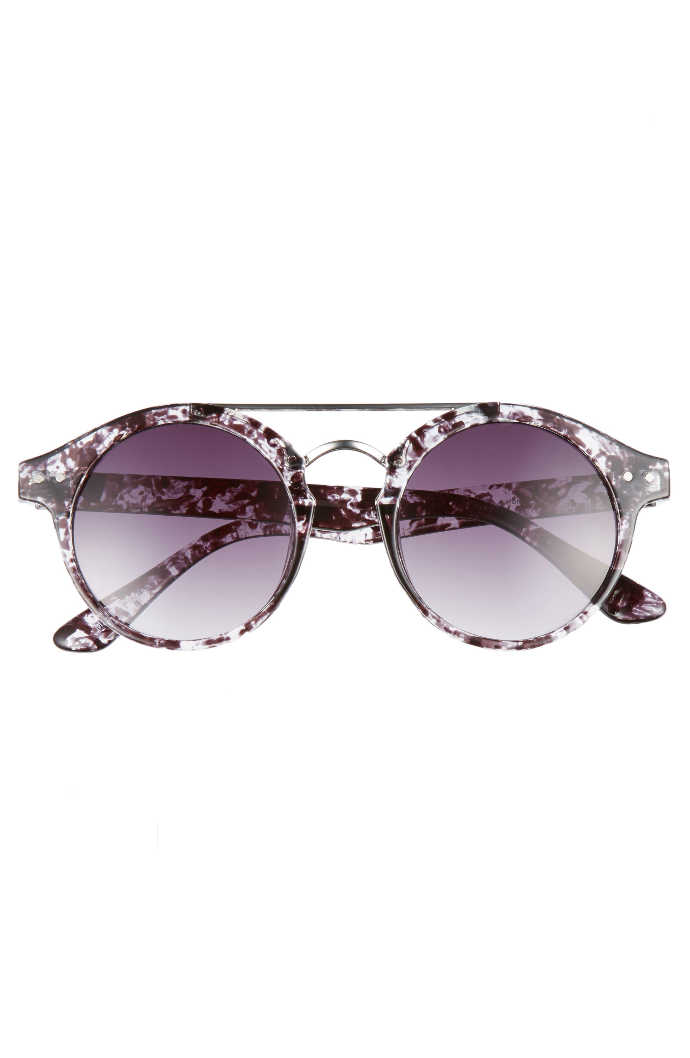 45mm Round Sunglasses,                             Alternate thumbnail 3, color,                             001