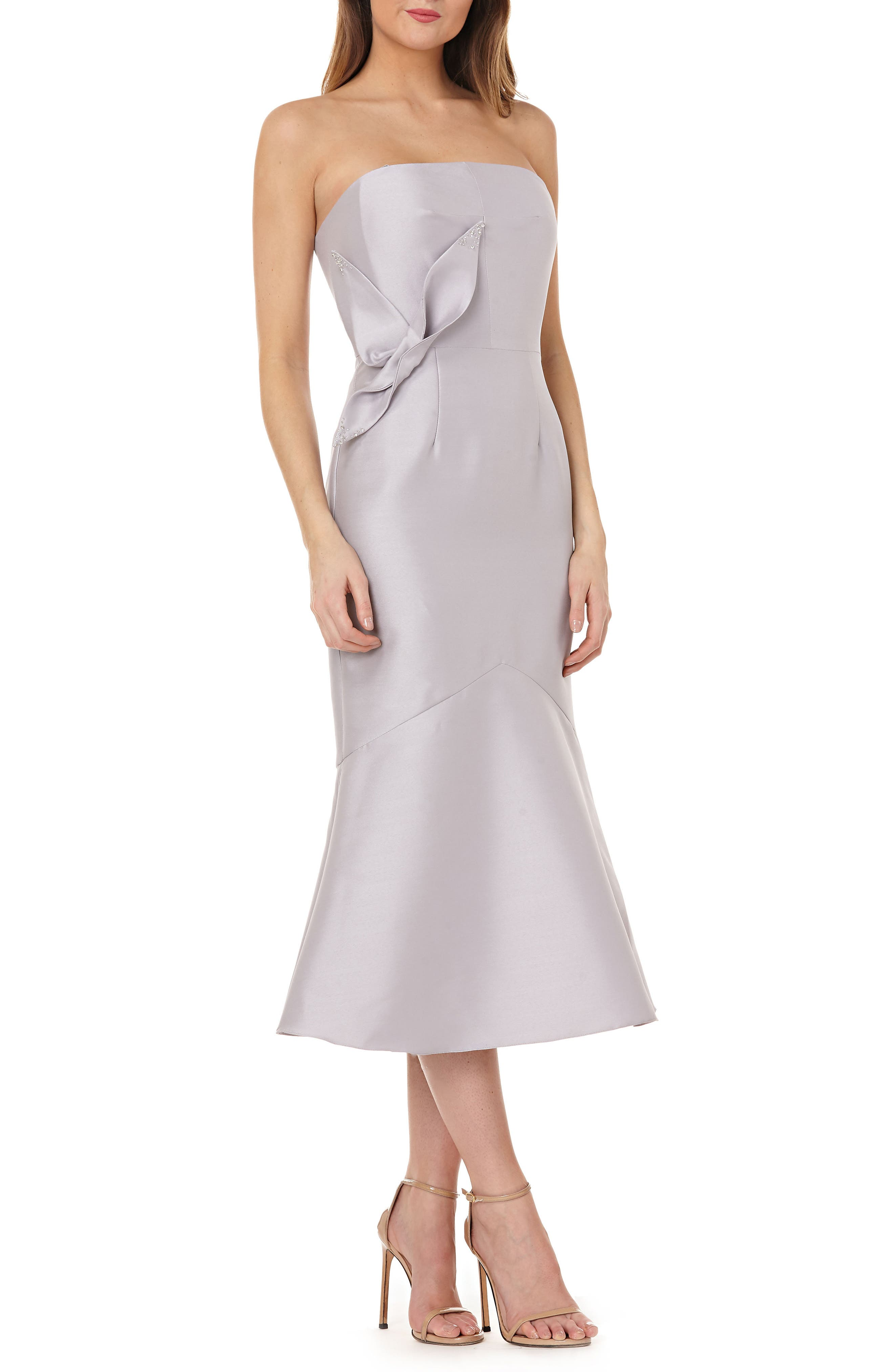 Strapless Satin Tea Length Dress,                             Main thumbnail 1, color,                             DOVE GREY