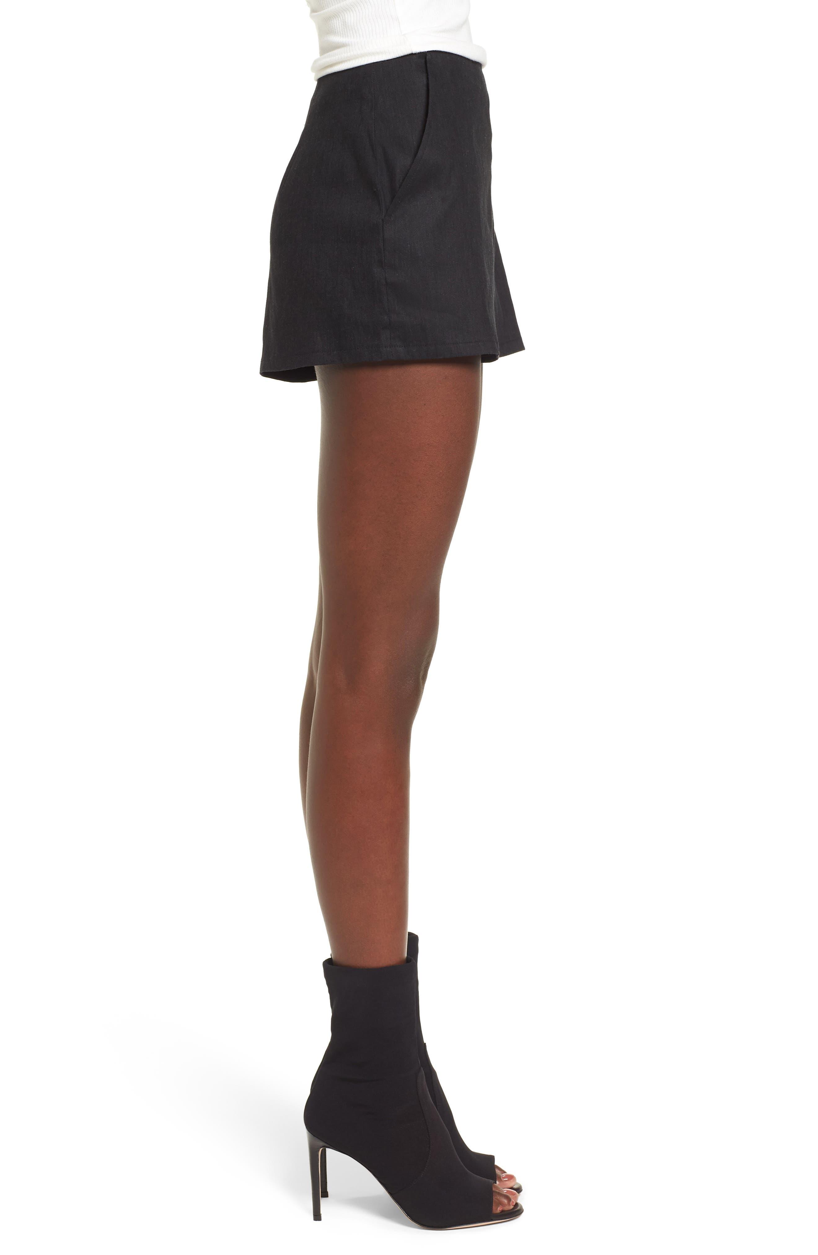 High Waist Linen Blend Shorts,                             Alternate thumbnail 3, color,                             001
