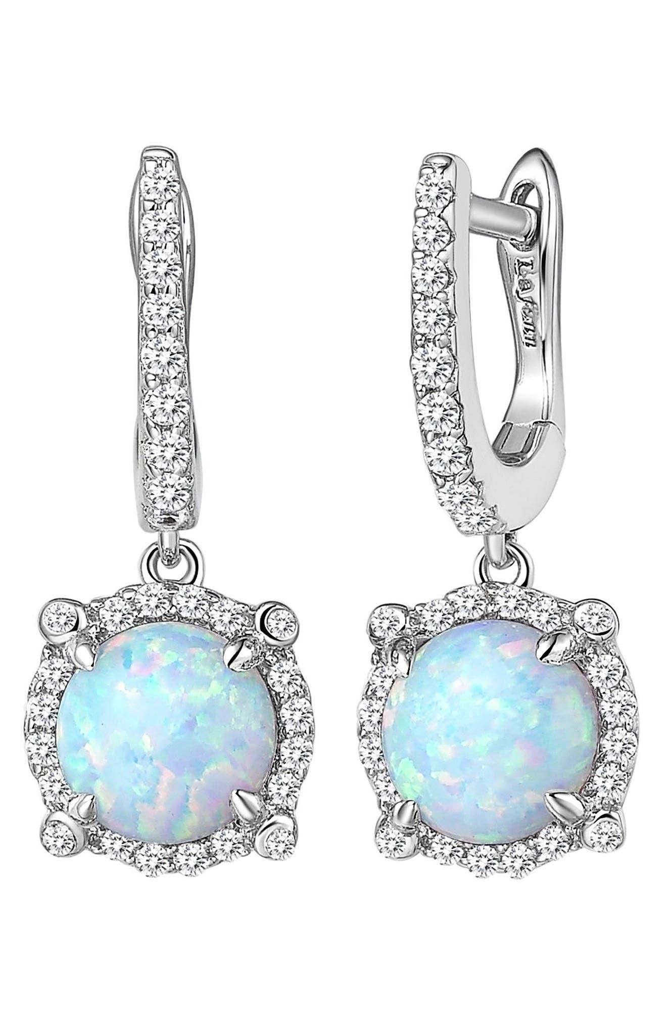 Simulated Diamond Drop Earrings,                             Alternate thumbnail 3, color,                             SILVER/ OPAL/ CLEAR
