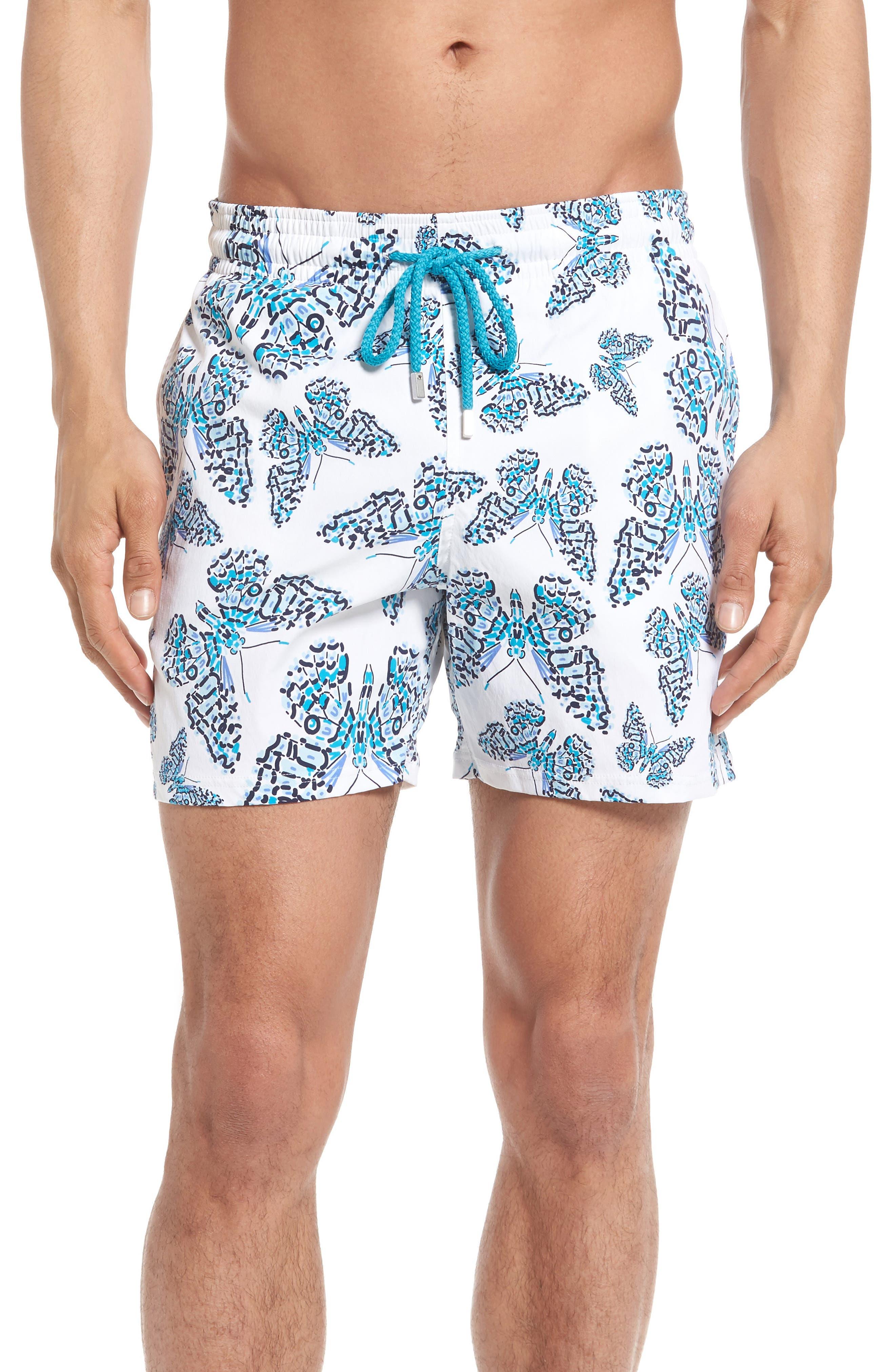 Moorise Butterflies Superflex Swim Trunks,                         Main,                         color, AZURE