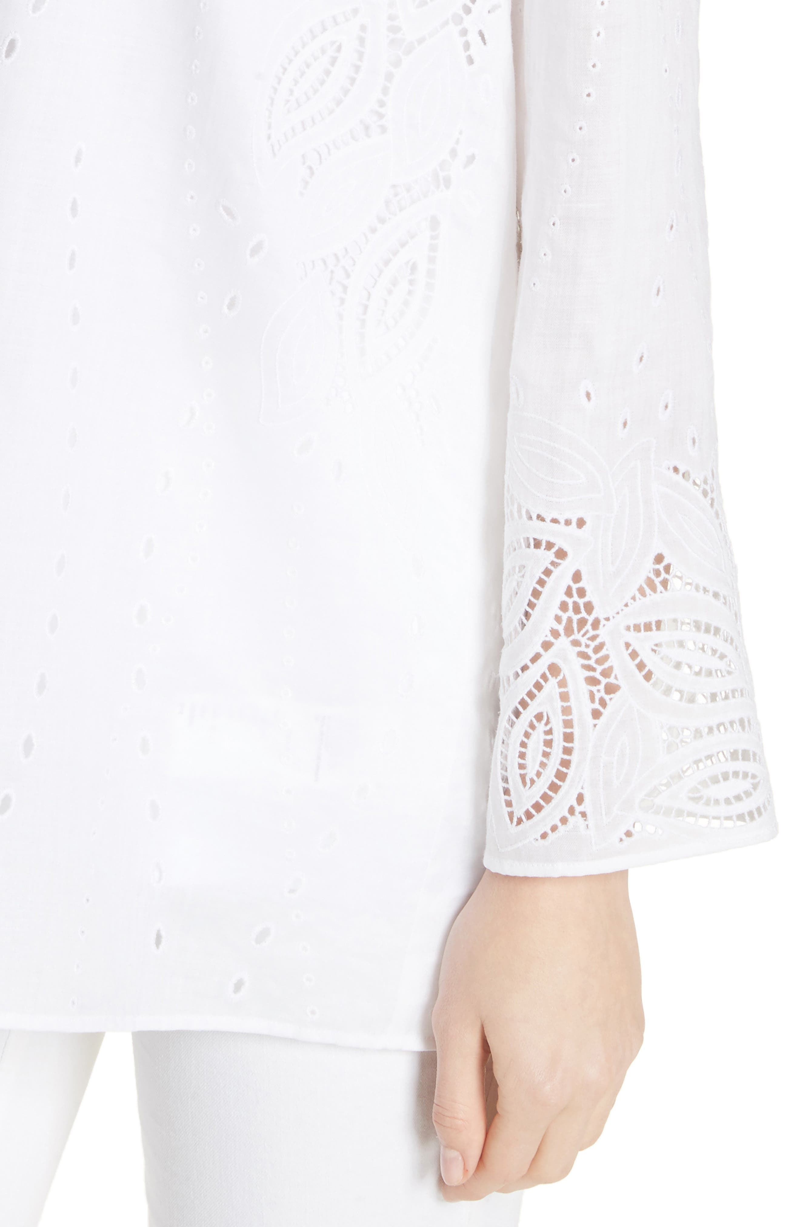Haisley Embroidered Gemma Cloth Blouse,                             Alternate thumbnail 4, color,                             100