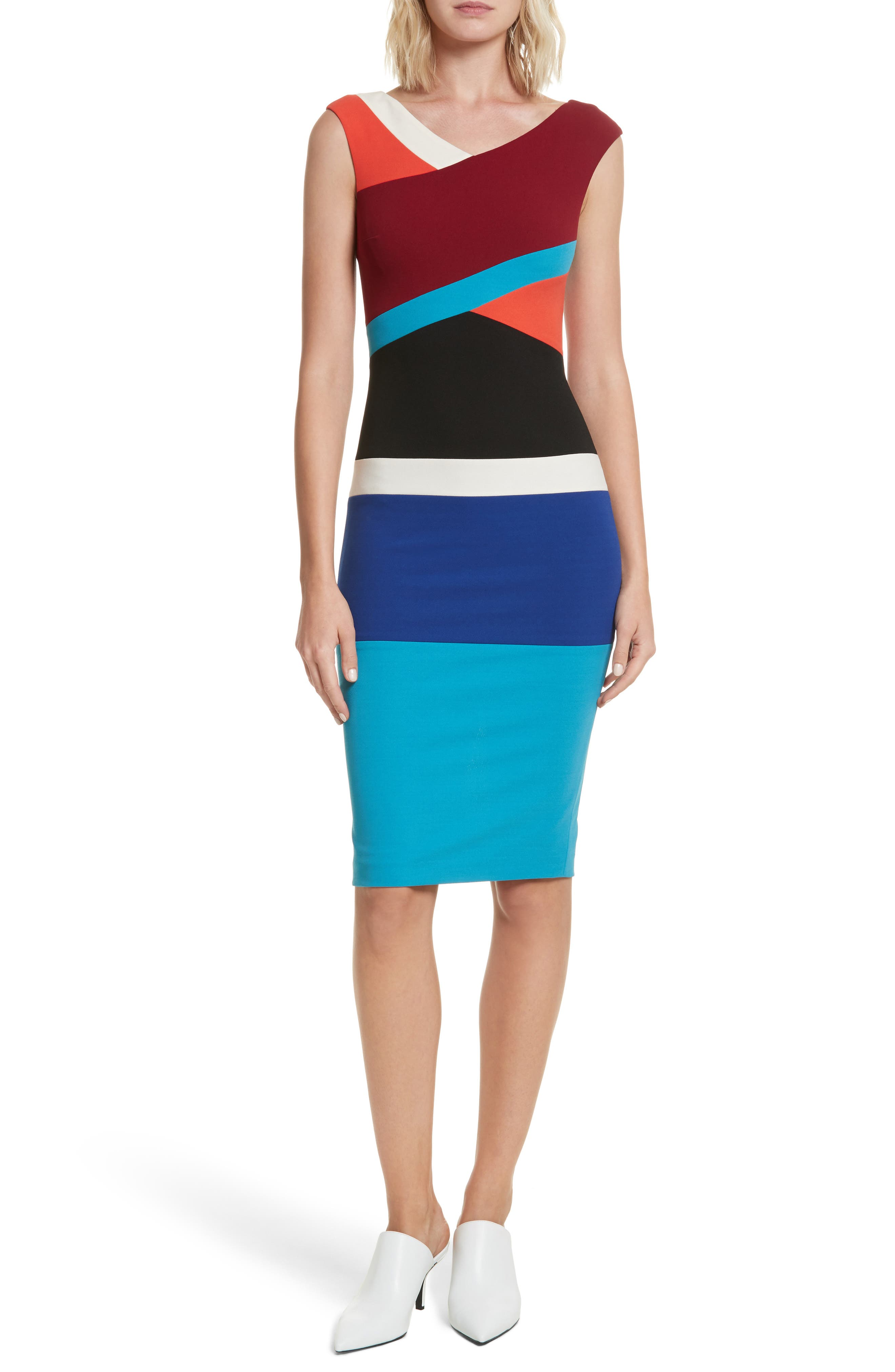 Colorblock Surplice Dress,                             Main thumbnail 1, color,                             498