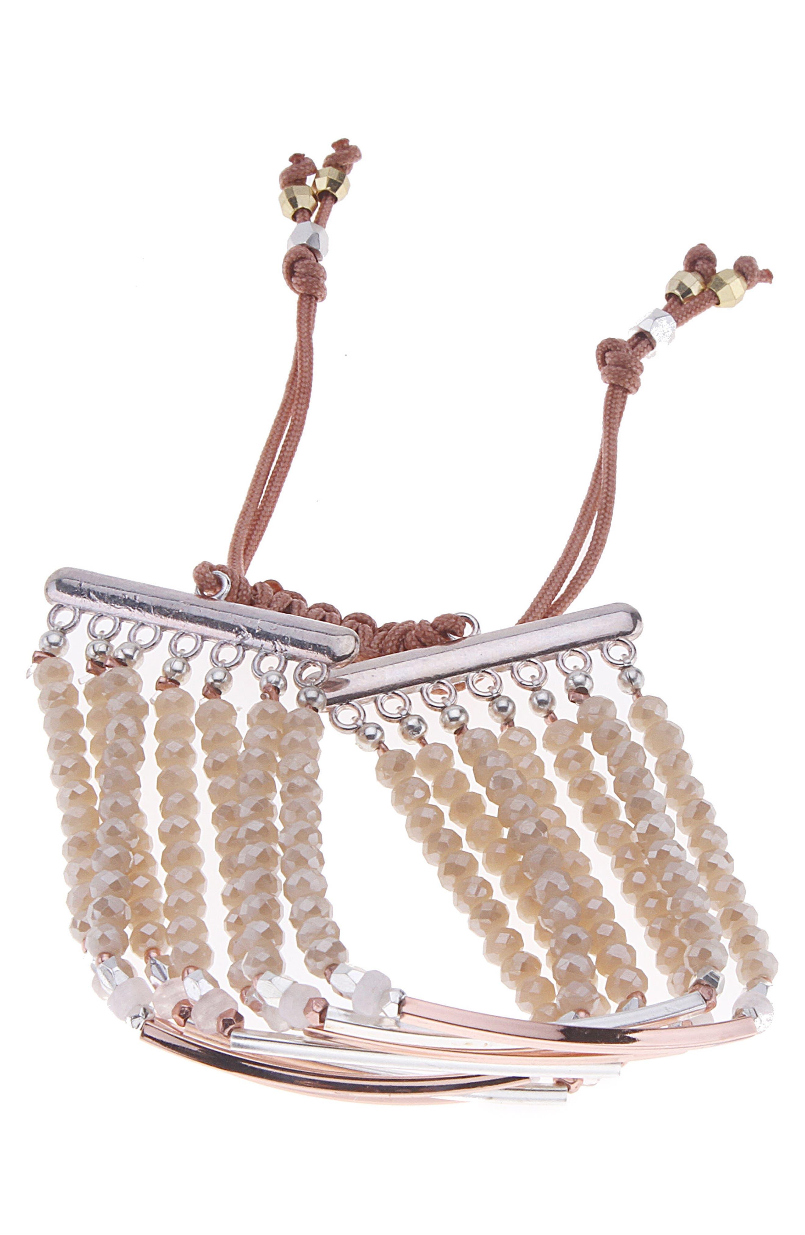 Bar Charm & Beaded Bracelet,                         Main,                         color,