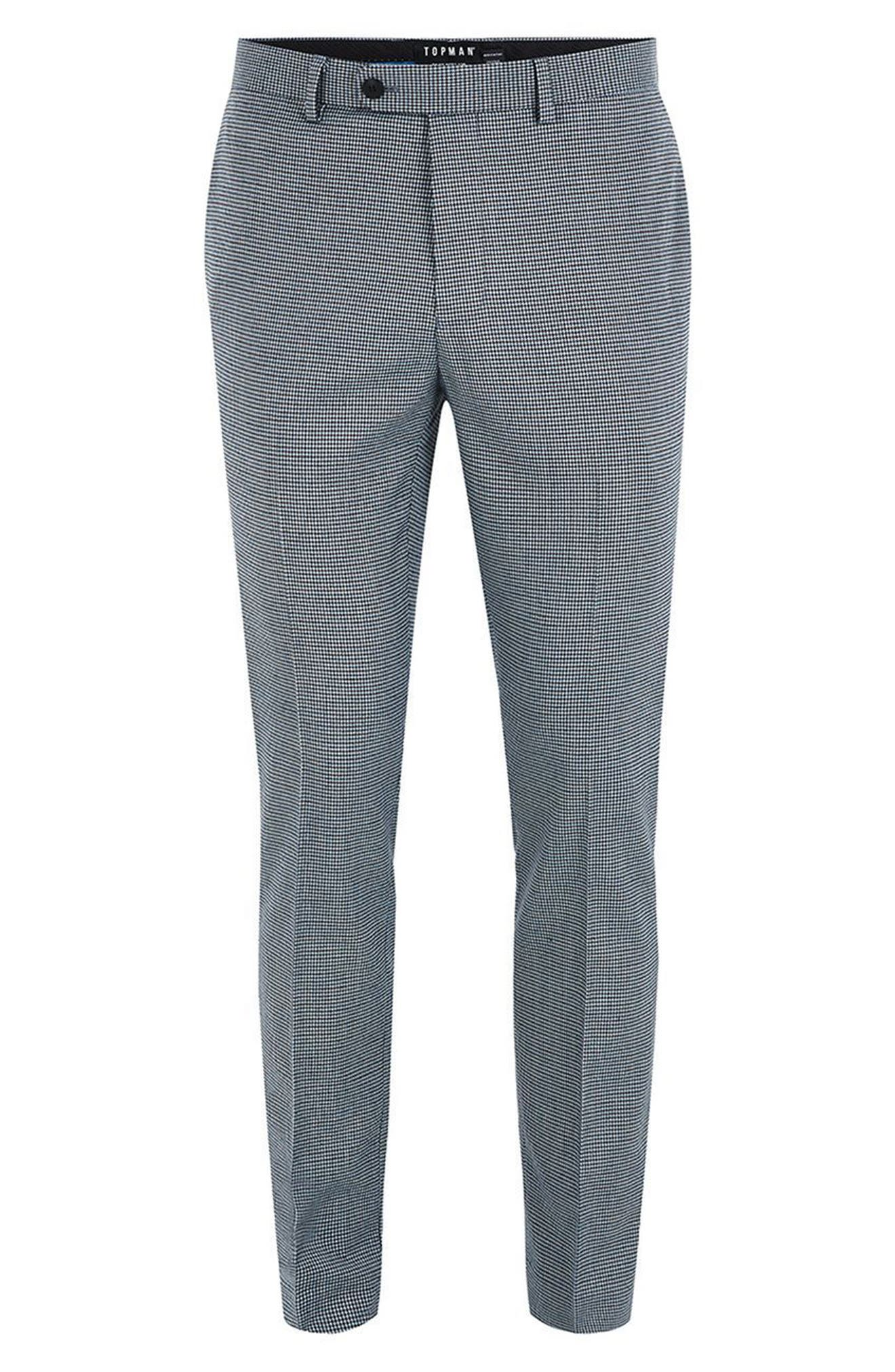 Skinny Fit Houndstooth Suit Trousers,                             Alternate thumbnail 4, color,                             300