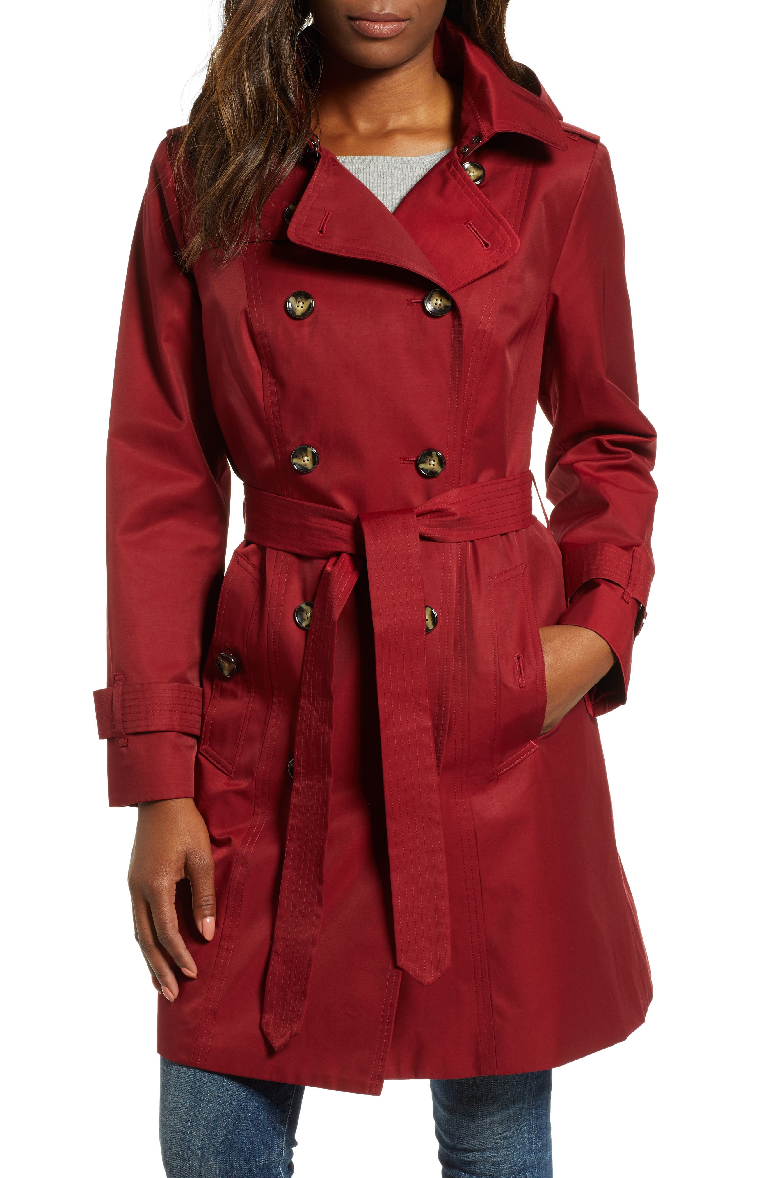 Double Breasted Trench Coat,                             Main thumbnail 1, color,                             RED