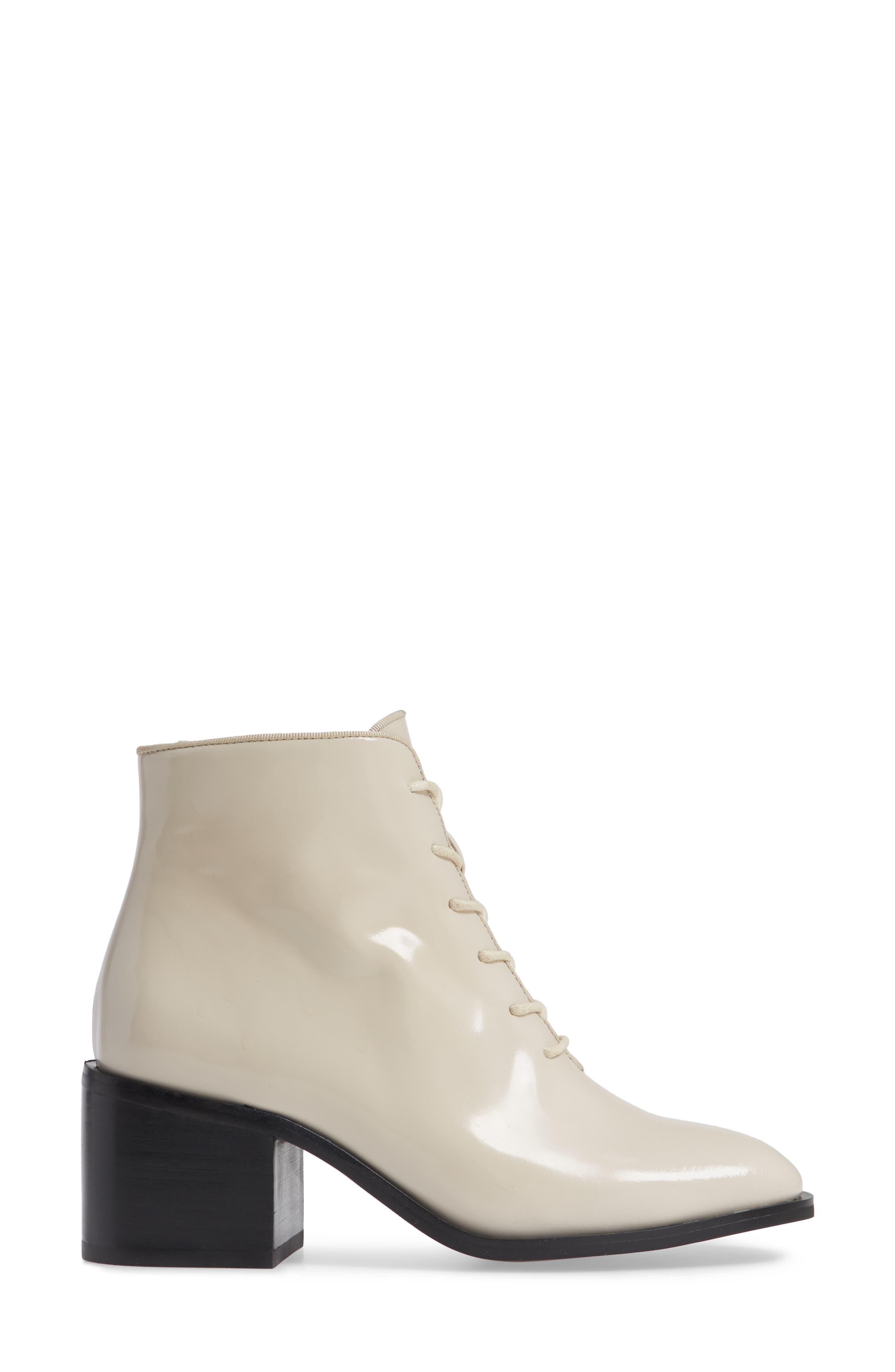 Talcott Block Heel Bootie,                             Alternate thumbnail 3, color,                             IVORY BOX
