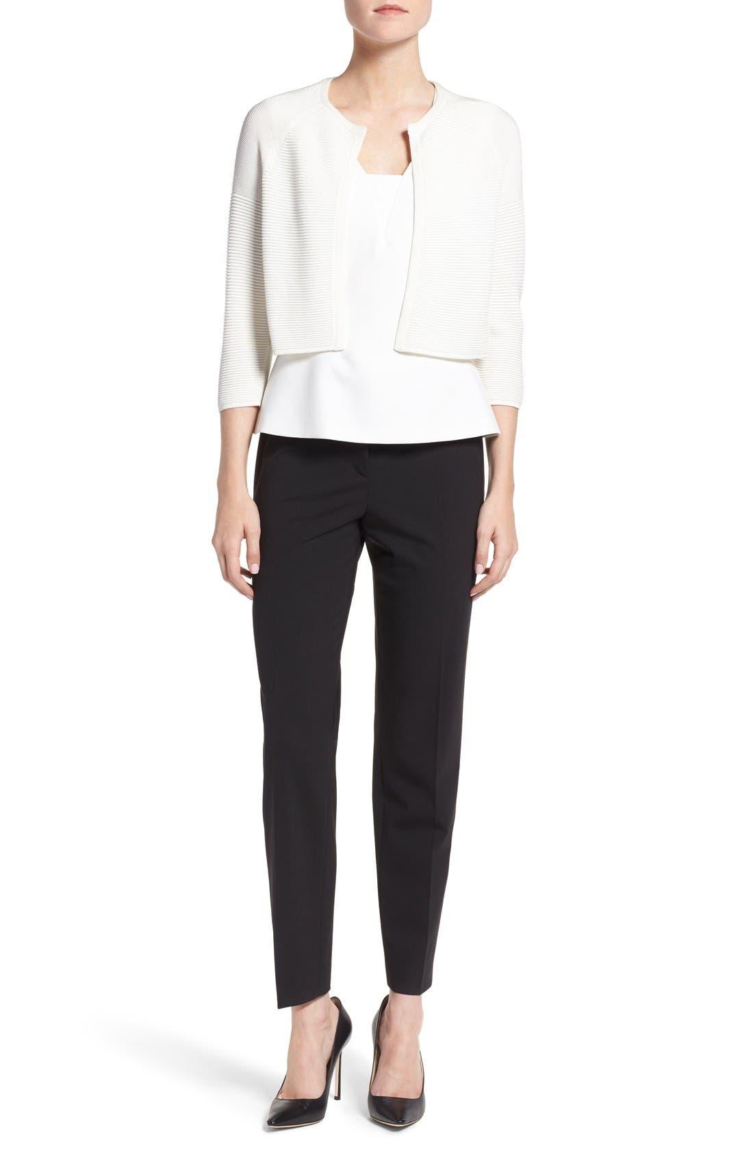 Tiluna Tropical Stretch Wool Ankle Trousers,                             Alternate thumbnail 7, color,                             BLACK