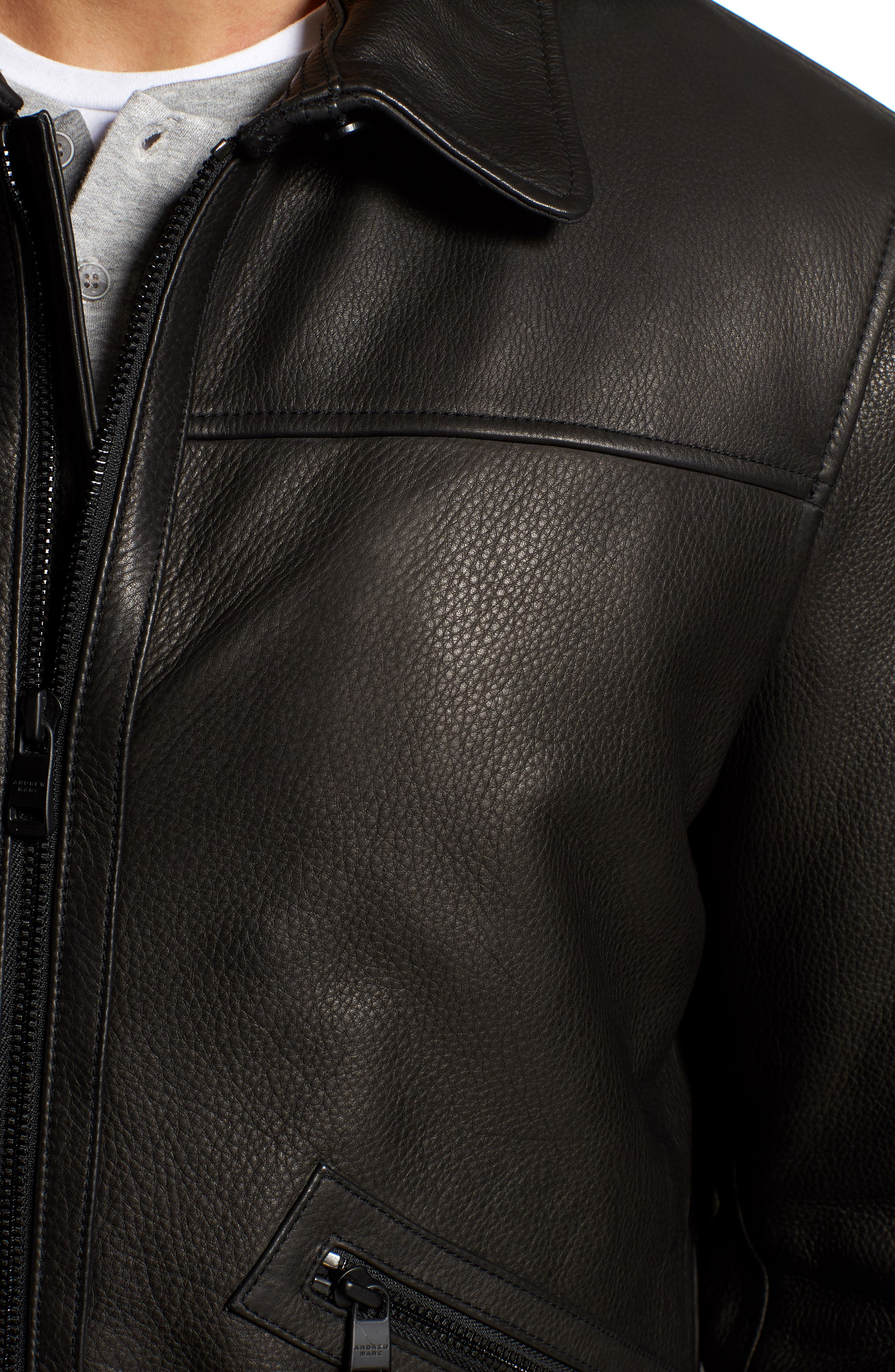 Kilmer Genuine Shearling Bomber Jacket,                             Alternate thumbnail 7, color,                             BLACK