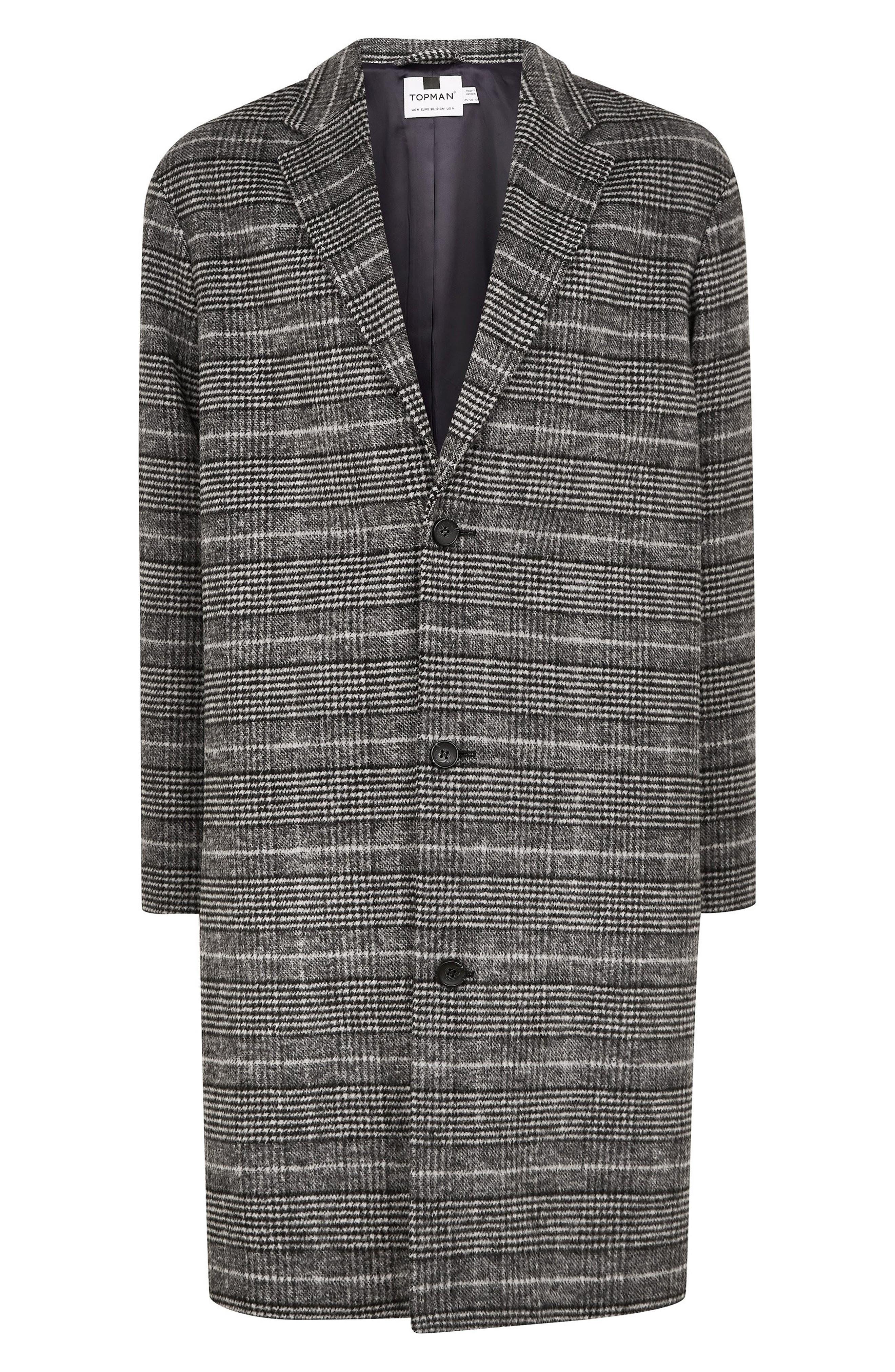 TOPMAN,                             Hayden Check Print Overcoat,                             Alternate thumbnail 4, color,                             020