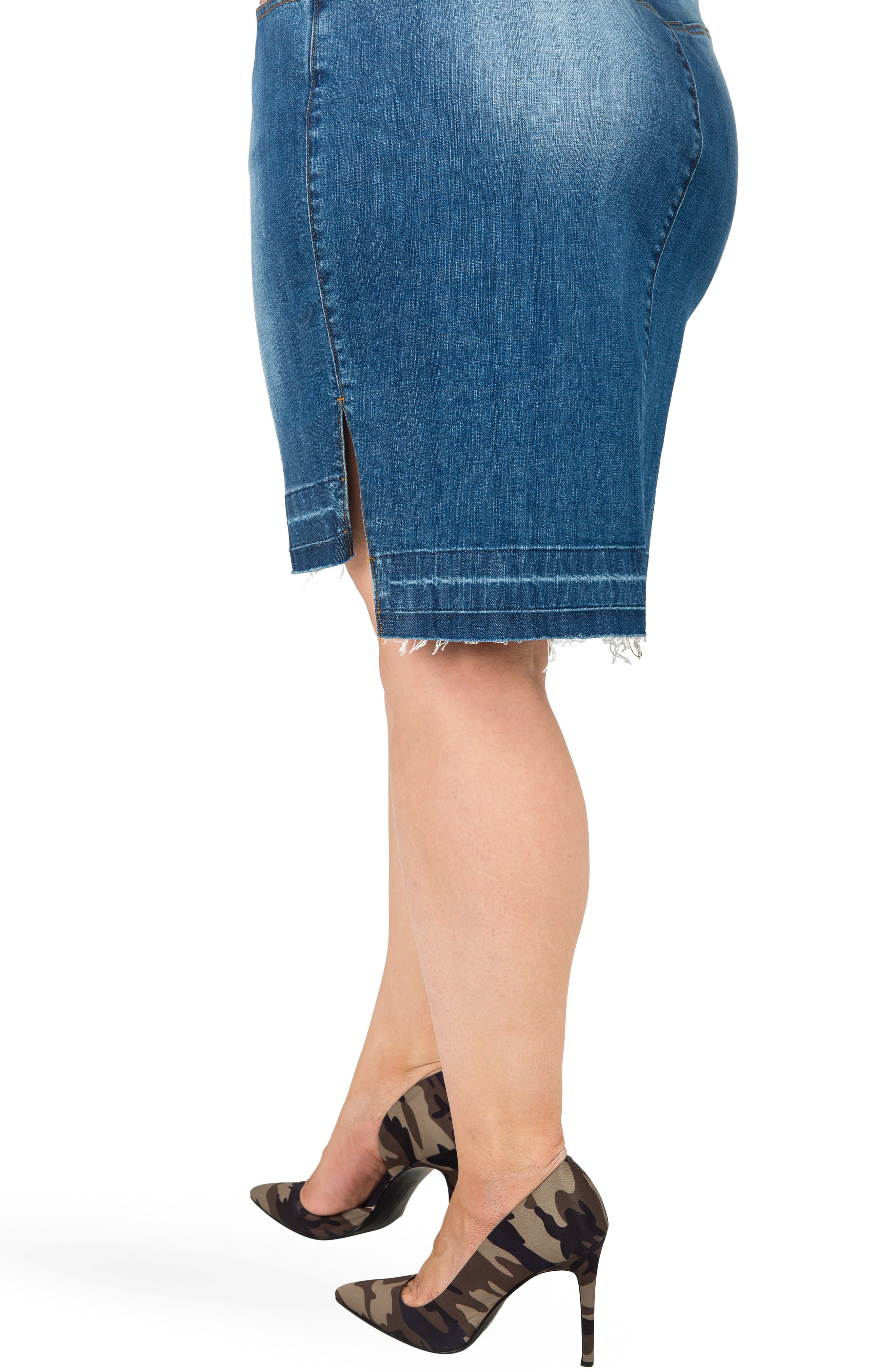 Dariah Released Step Hem Denim Skirt,                             Alternate thumbnail 3, color,                             BLUE
