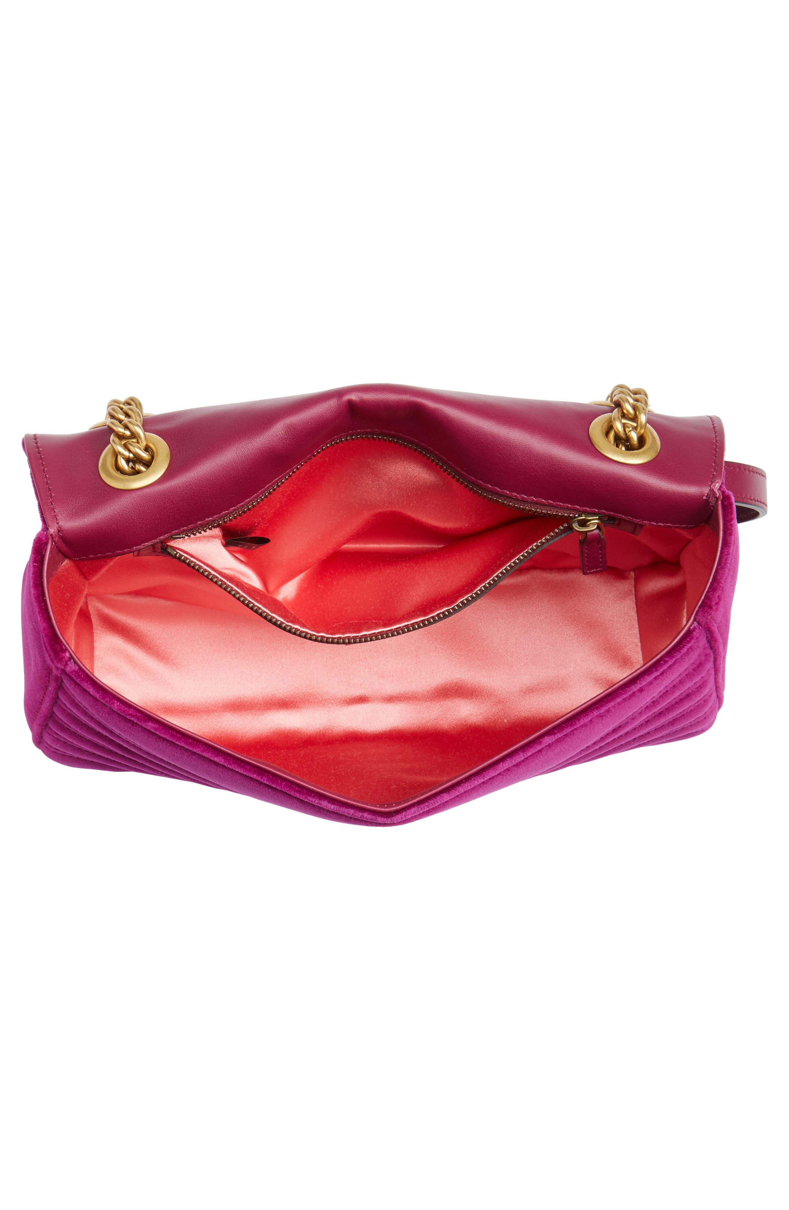GUCCI,                             Medium GG Marmont 2.0 Matelassé Velvet Shoulder Bag,                             Alternate thumbnail 4, color,                             FUCSIA