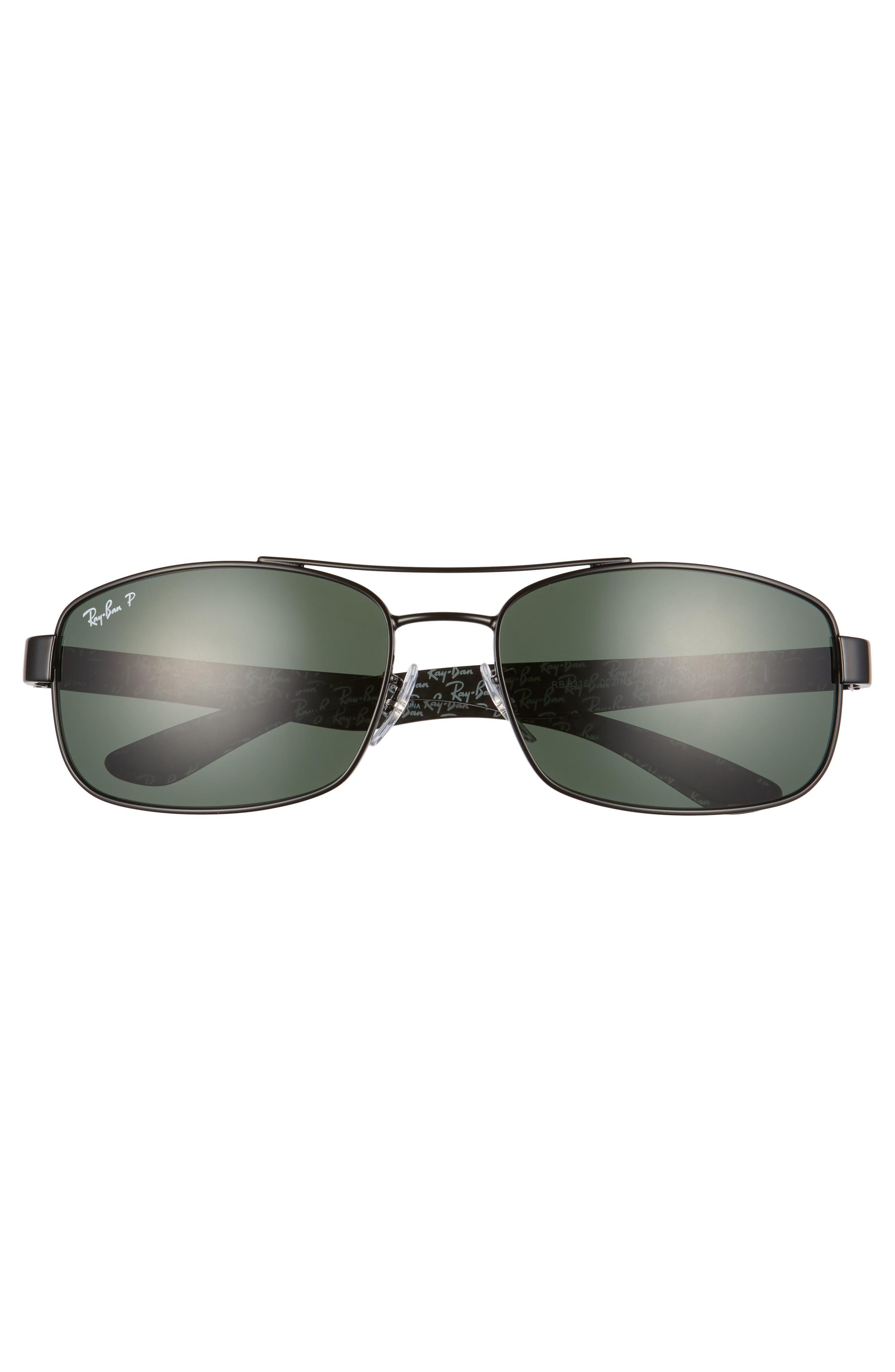 62mm Polarized Sunglasses,                             Alternate thumbnail 3, color,                             BLACK/ GREEN P