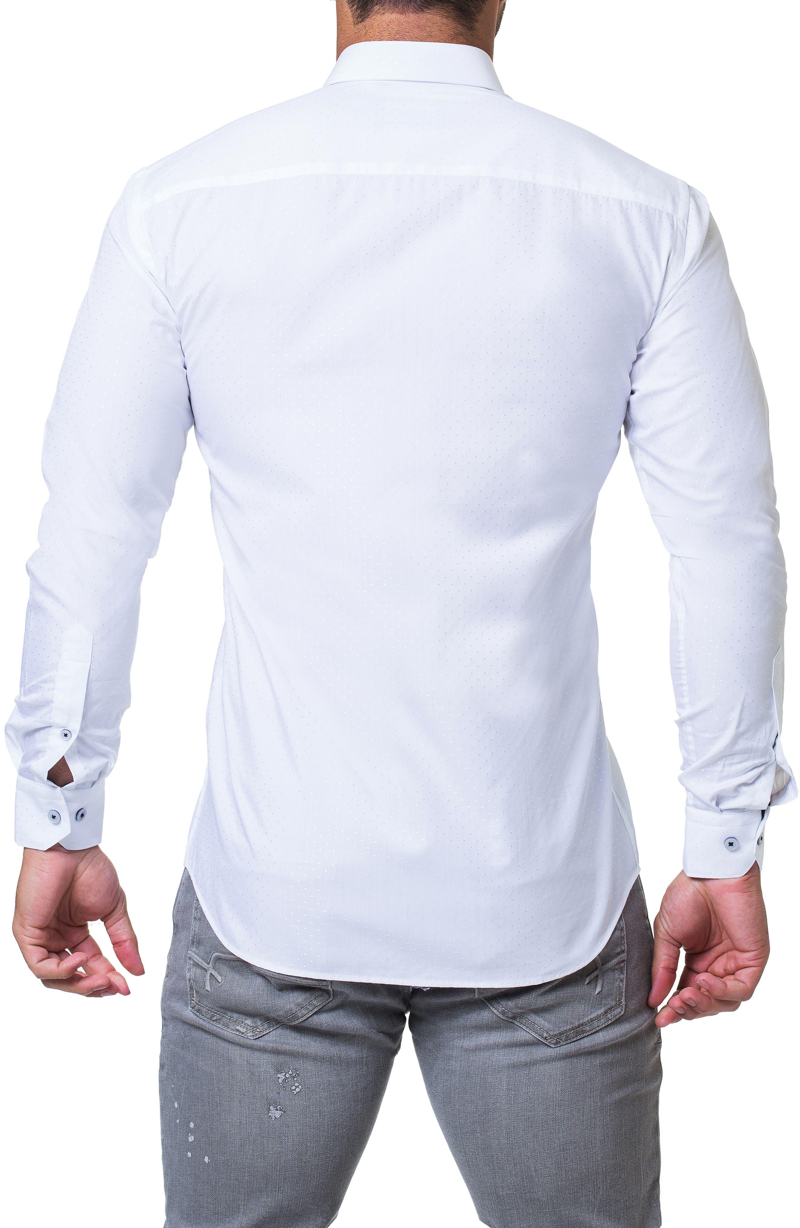 Fibonacci Trim Fit Sparkle Dot Sport Shirt,                             Alternate thumbnail 2, color,                             WHITE